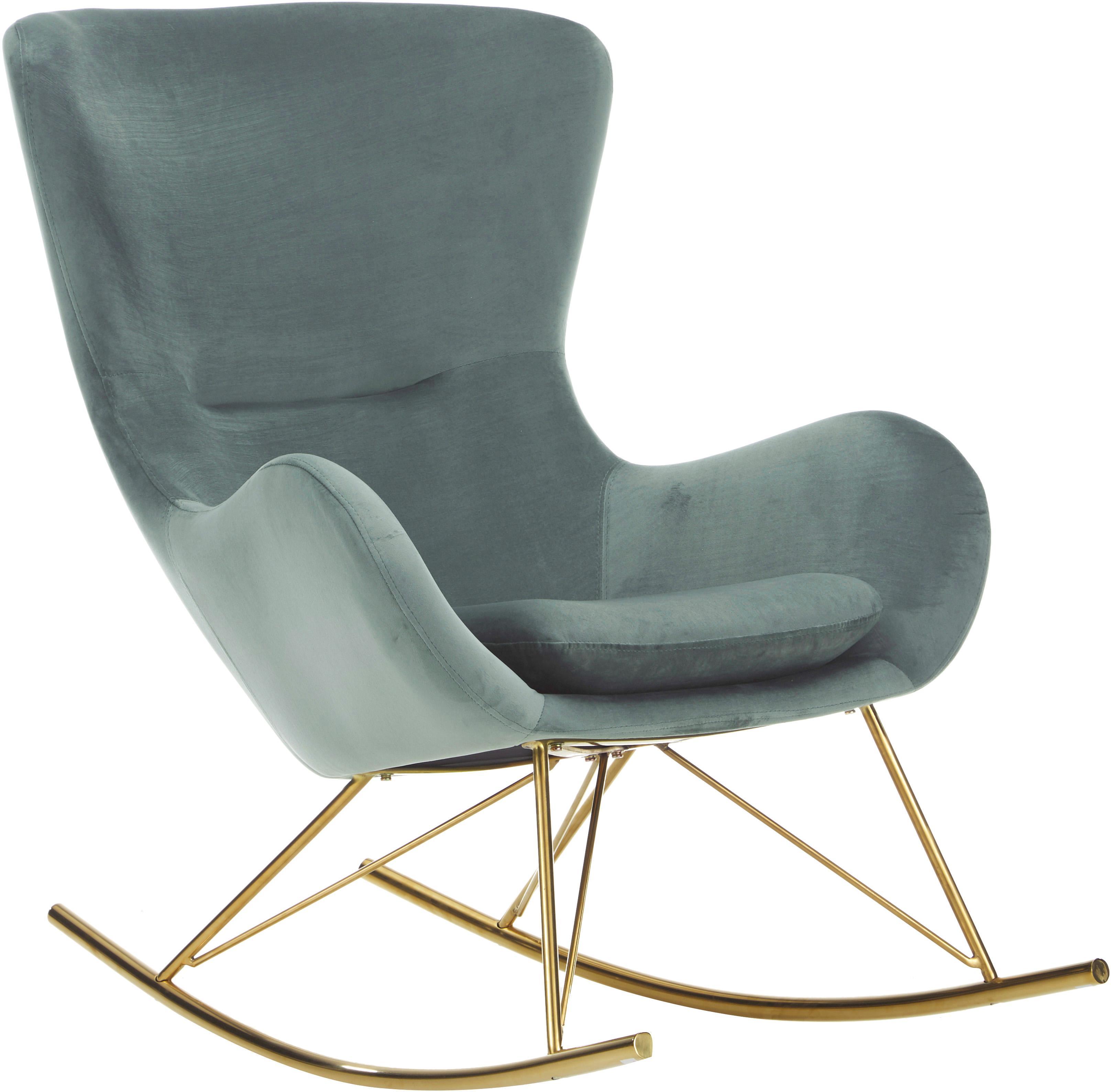 Sedia a dondolo in velluto Wing, Rivestimento: velluto (poliestere) 15.0, Struttura: metallo, zincato, Verde salvia, Larg. 77 x Prof. 96 cm