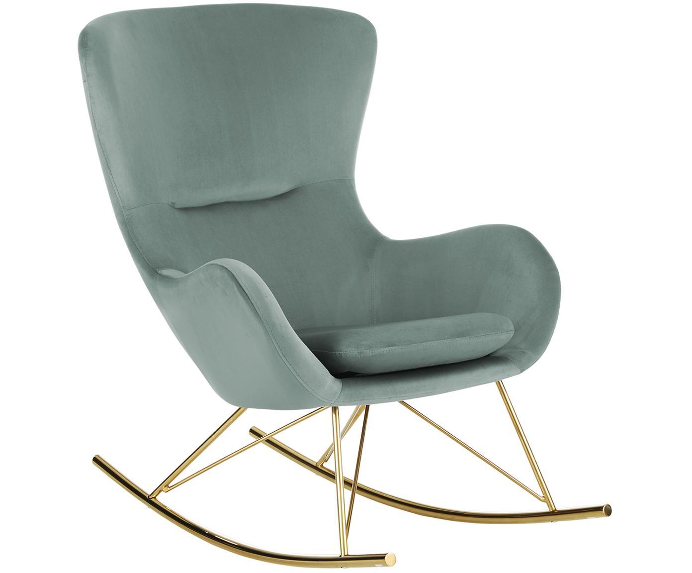 Krzesło bujane z aksamitu Wing, Tapicerka: aksamit (poliester) 1500, Stelaż: metal galwanizowany, Szałwiowy zielony, S 77 x G 96 cm
