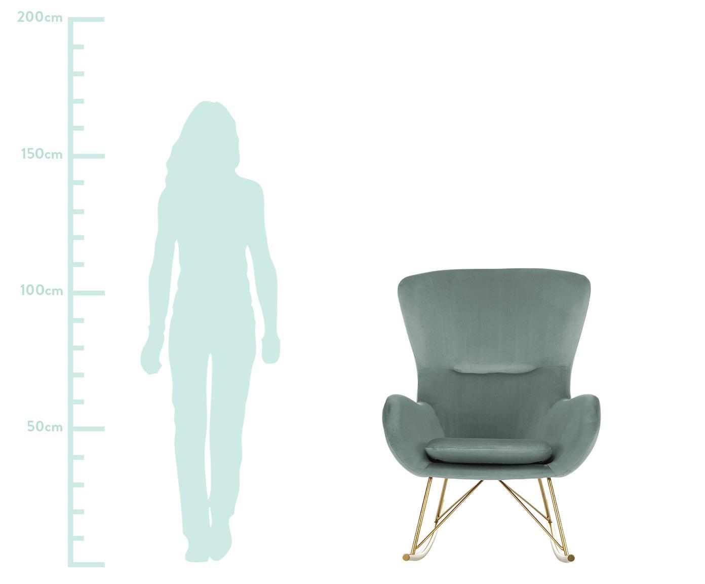 Fluwelen schommelstoel Wing, Bekleding: fluweel (polyester), Frame: gegalvaniseerd metaal, Saliegroen, B 77 x D 96 cm