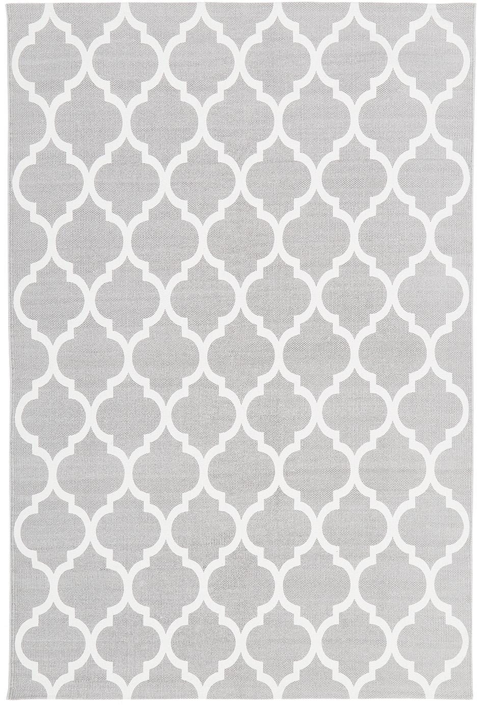 Flachgewebter Baumwollteppich Amira in Grau/Weiss, 100% Baumwolle, Hellgrau, Cremeweiss, B 120 x L 180 cm (Grösse S)