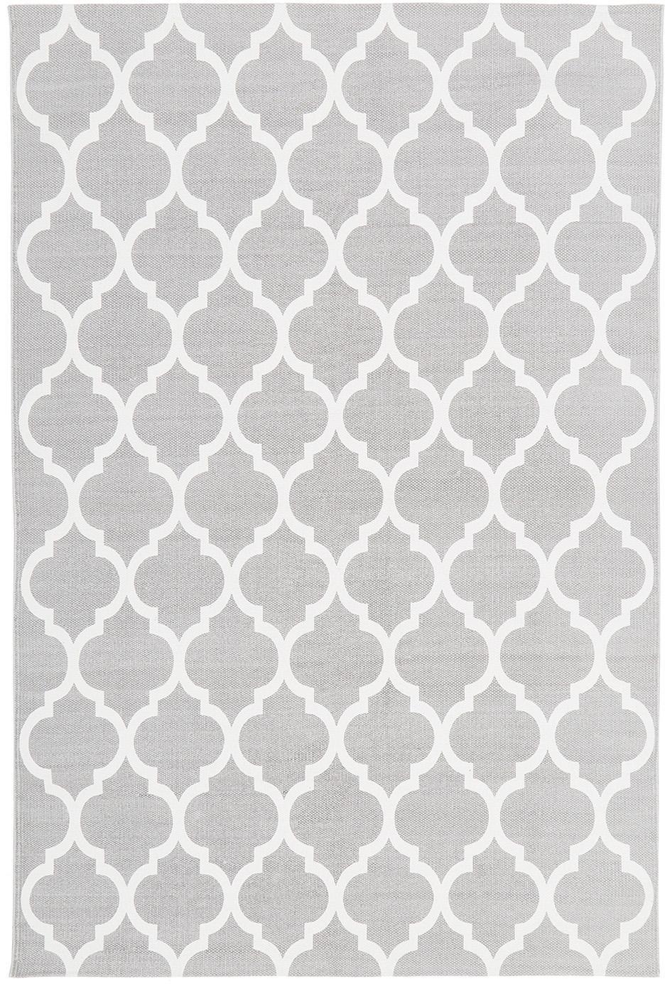Flachgewebter Baumwollteppich Amira in Grau/Weiß, 100% Baumwolle, Hellgrau, Cremeweiß, B 120 x L 180 cm (Größe S)