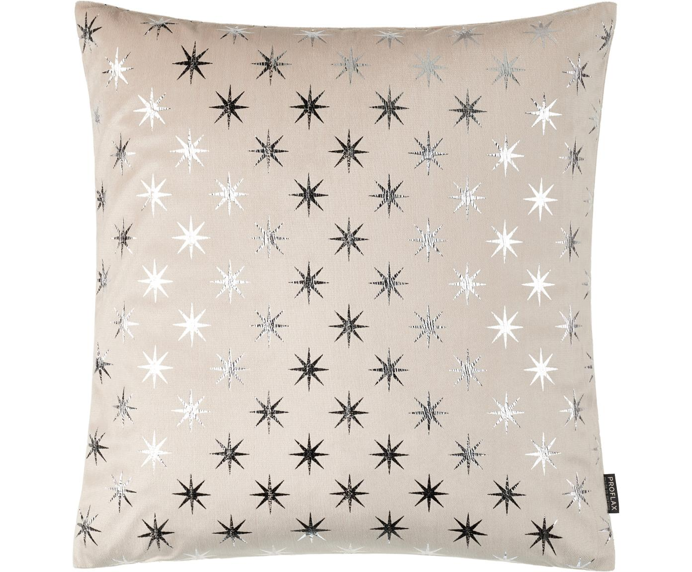 Kussenhoes Cosmos met zilveren sterren, Polyester, Zandkleurig, zilverkleurig, 40 x 40 cm