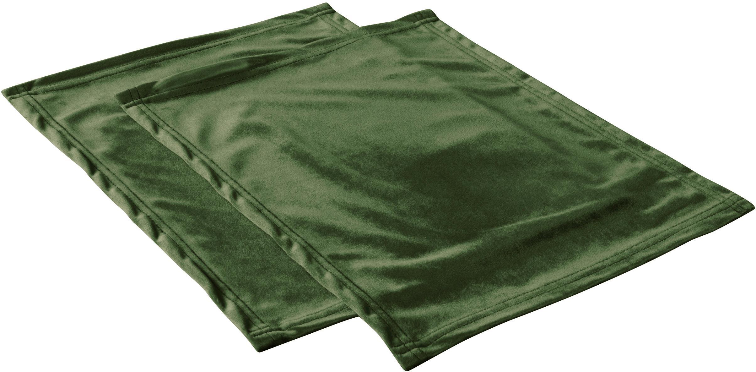 Tovaglietta americana in velluto Simone 2 pz, 100% velluto di poliestere, Verde oliva, Larg. 35 x Lung. 45 cm