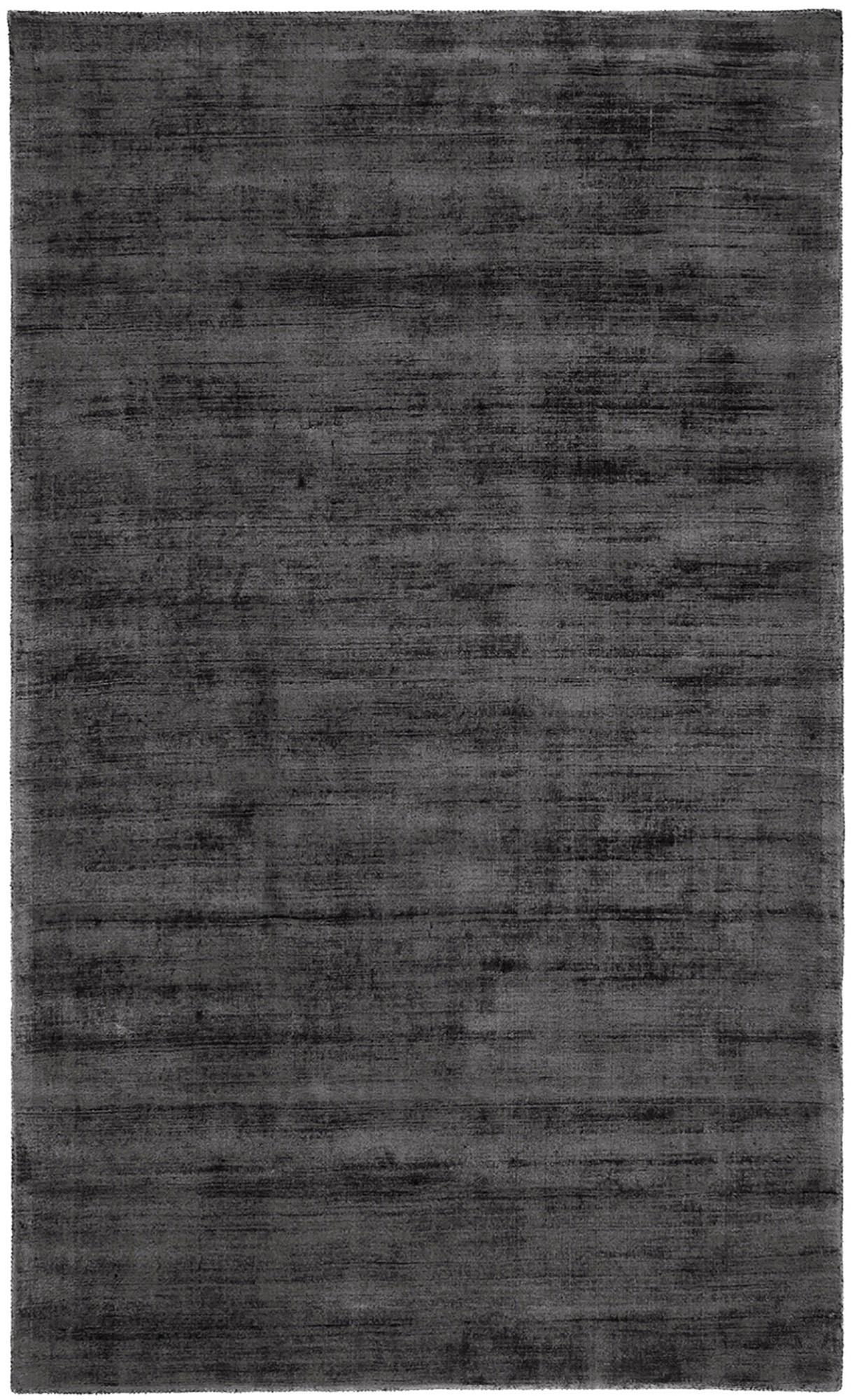 Handgeweven viscose vloerkleed Jane in antraciet-zwart, Bovenzijde: 100% viscose, Onderzijde: 100% katoen, Antraciet-zwart, 90 x 150 cm