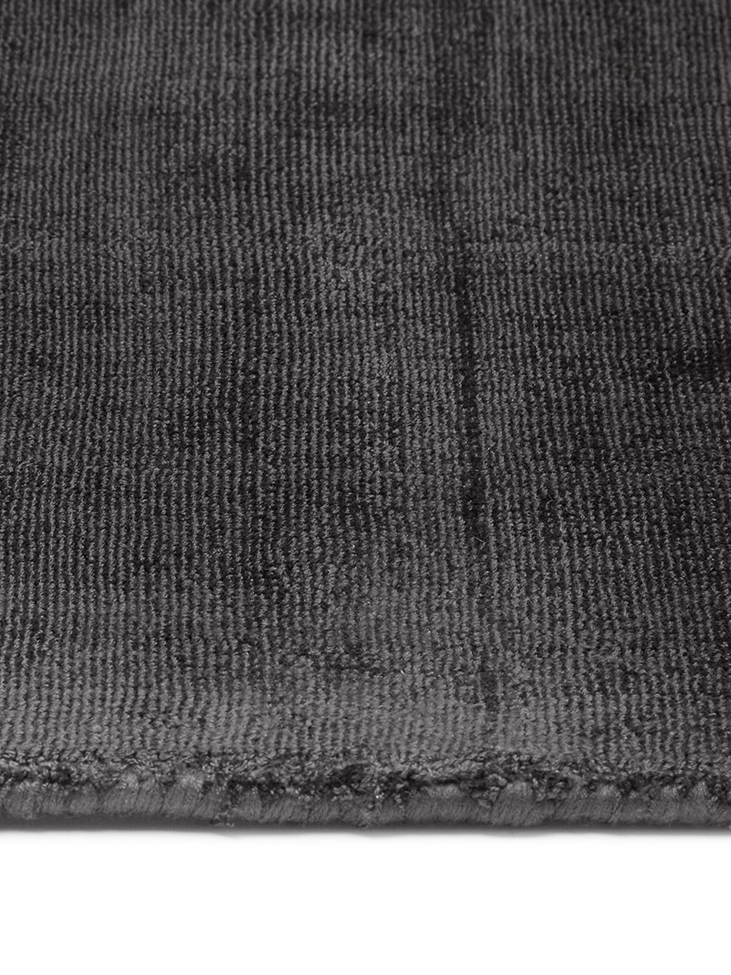Handgewebter Viskoseteppich Jane in Anthrazit-Schwarz, Flor: 100% Viskose, Anthrazit-Schwarz, B 200 x L 300 cm (Größe L)