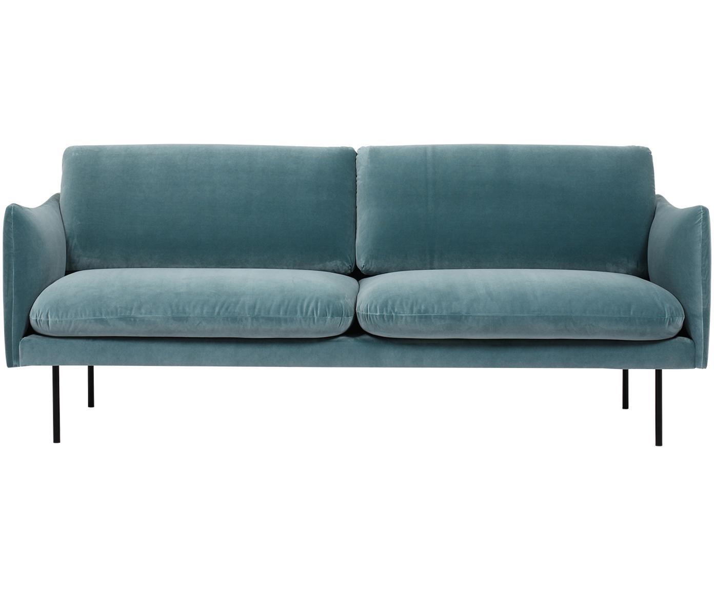 Fluwelen bank Moby (2-zits), Bekleding: fluweel (hoogwaardige pol, Frame: massief grenenhout, Poten: gepoedercoat metaal, Turquoise, B 170 x D 95 cm