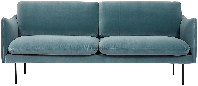 Sofa z aksamitu Moby (2-osobowa), Tapicerka: aksamit (wysokiej jakości, Stelaż: lite drewno sosnowe, Nogi: metal malowany proszkowo, Turkusowy, S 170 x G 95 cm