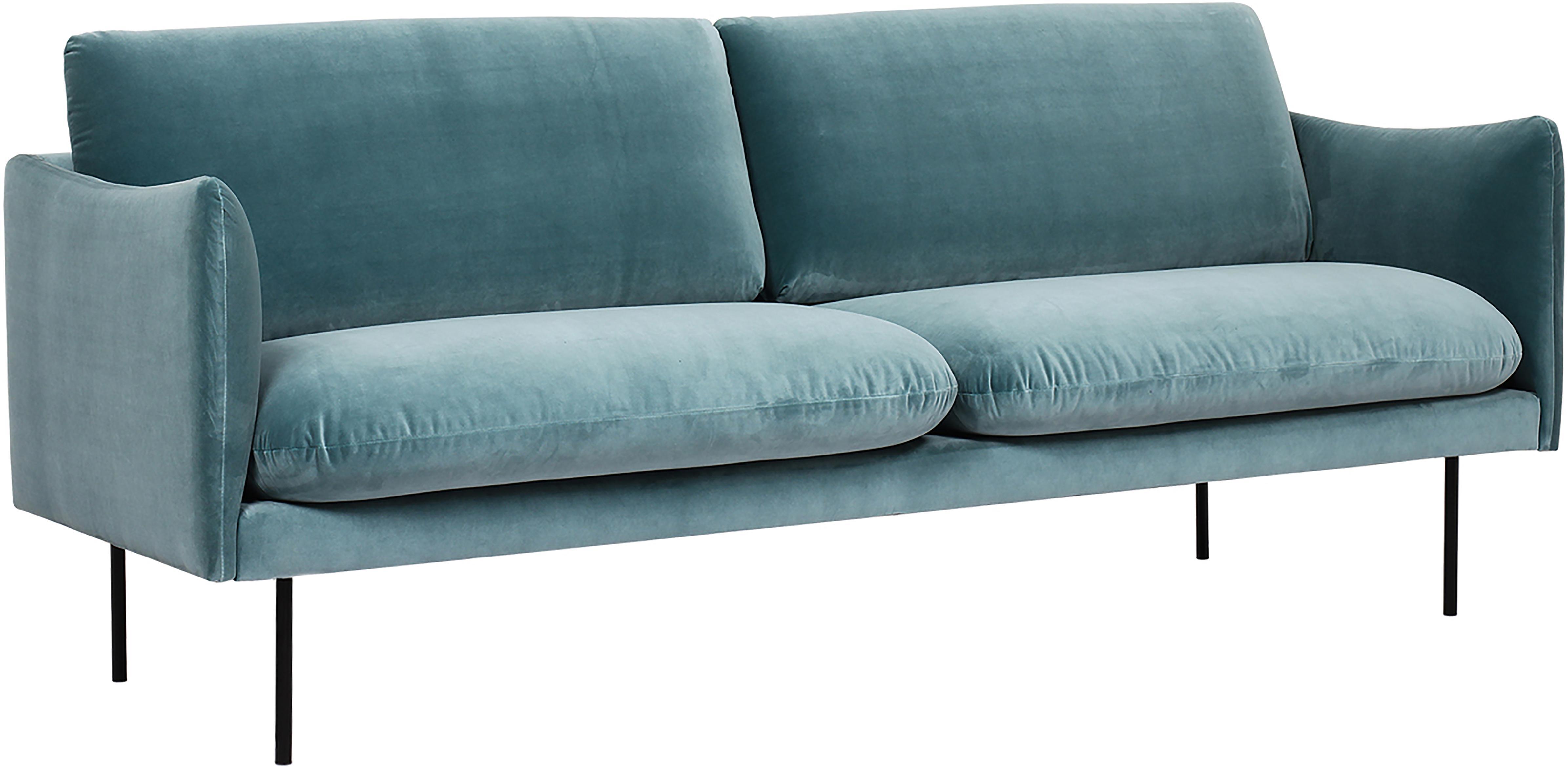 Samt-Sofa Moby (2-Sitzer), Bezug: Samt (Hochwertiger Polyes, Gestell: Massives Kiefernholz, Füße: Metall, pulverbeschichtet, Samt Türkis, B 170 x T 95 cm