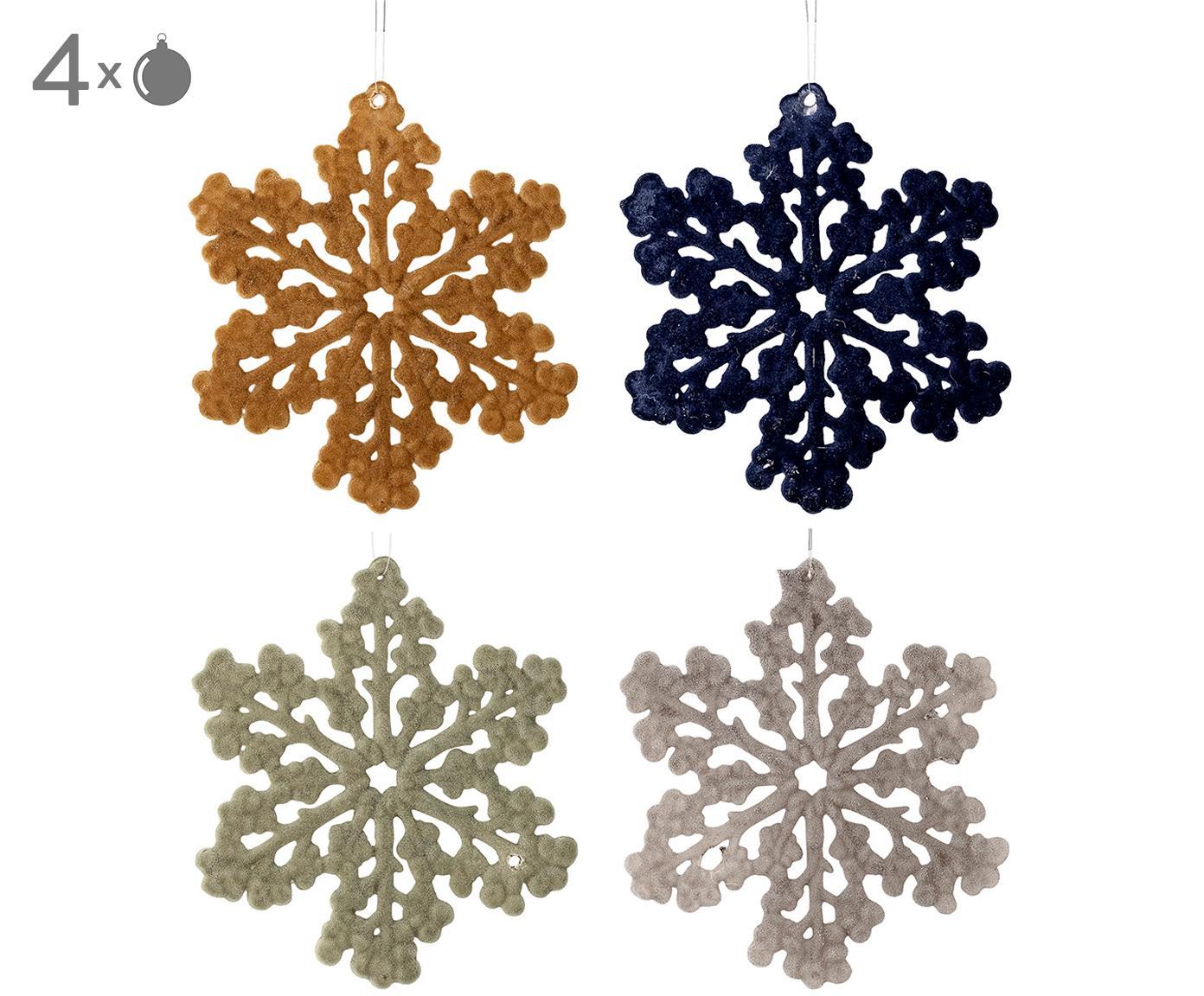 Baumanhänger-Set Snowflakes, 4-tlg., Polypropylen, Polyester, Senfgelb, Dunkelblau, Mintgrün, Grau, Ø 12 cm
