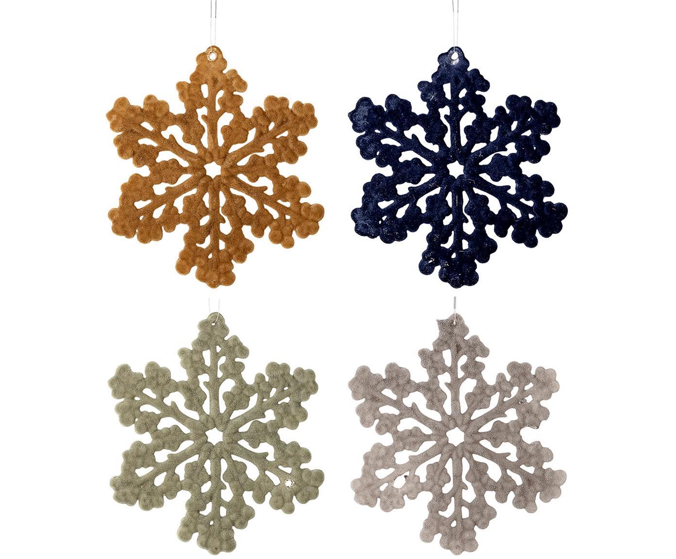 Kerstboomhangersset Snowflakes, 4-delig, Polypropyleen, polyester, Mosterdgeel, donkerblauw, mintgroen, grijs, Ø 12 cm