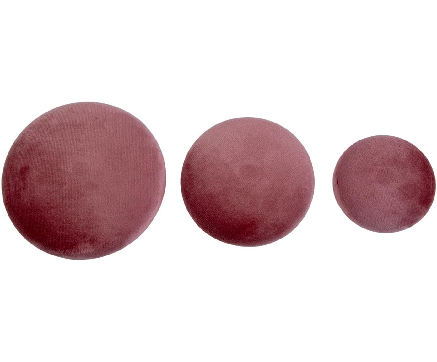Komplet haków z aksamitu Giza, 3 elem., Różowy, odcienie mosiądzu, Różne rozmiary