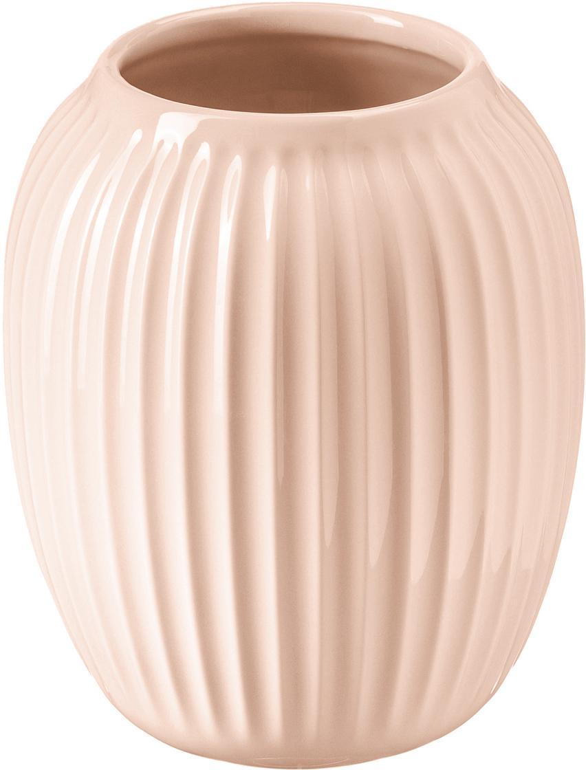 Jarrón artesanal de diseño Hammershøi, Porcelana, Rosa, Ø 17 x Al 20 cm