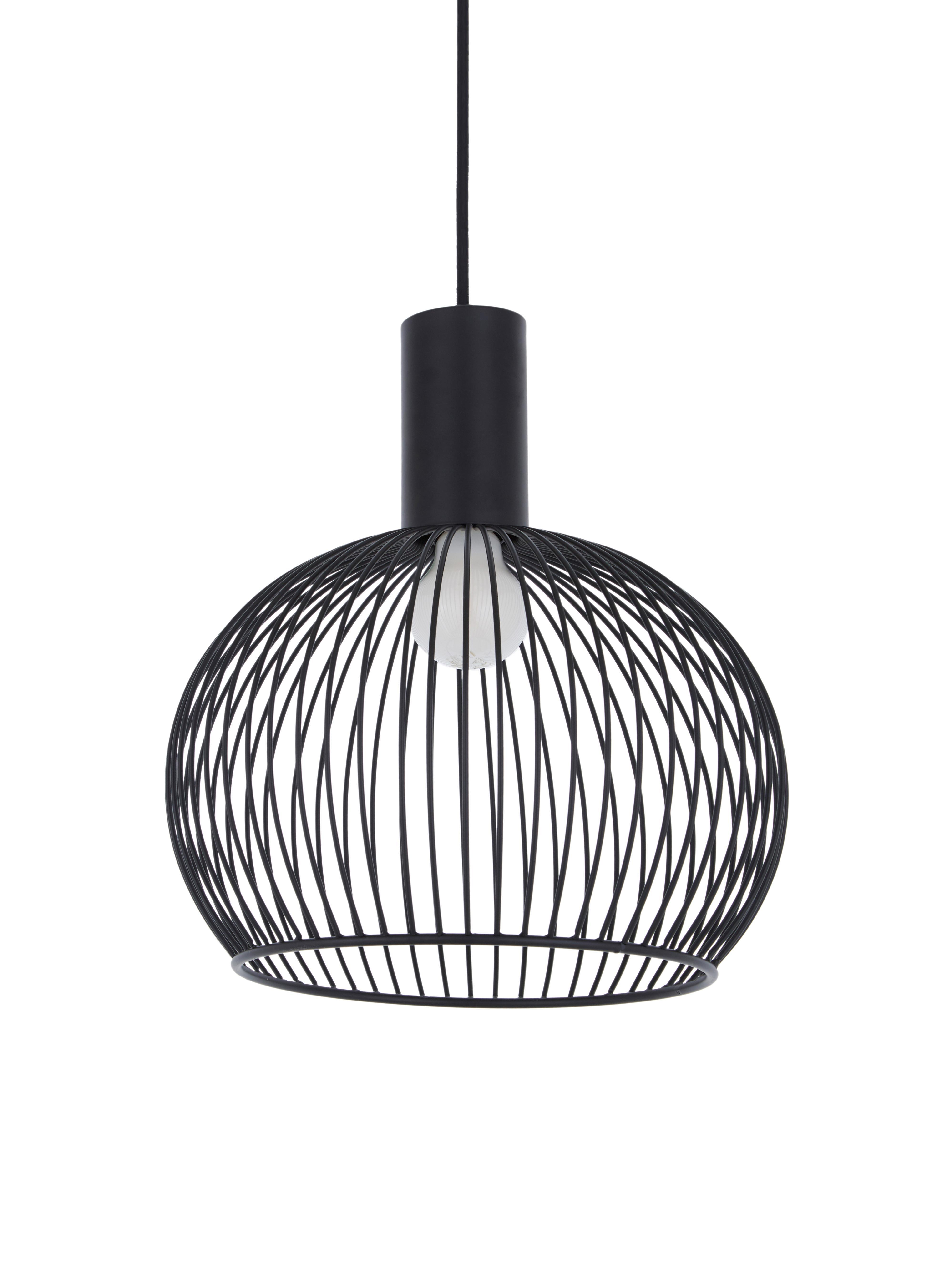 Design Pendelleuchte Aver, Lampenschirm: Stahl, lackiert, Baldachin: Kunststoff, Schwarz, Ø 30 x H 35 cm