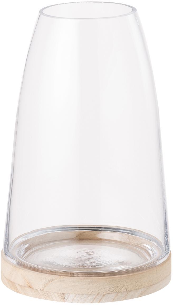 Windlicht Filio, Fuß: Blauglockenbaumholz, Windlicht: Glas, Transparent, Ø 16 x H 25 cm