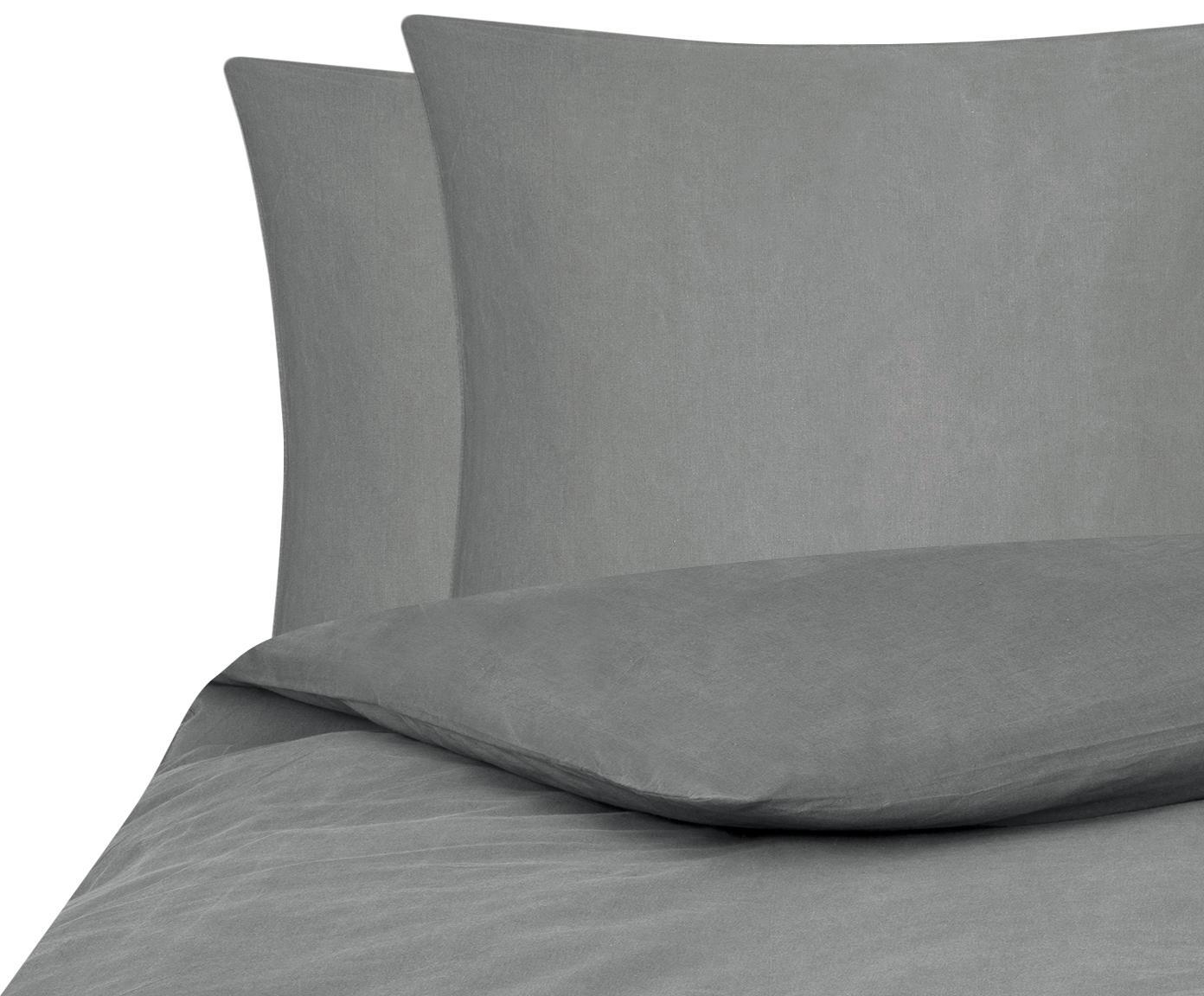 Gewaschene Baumwoll-Bettwäsche Arlene in Dunkelgrau, Webart: Renforcé Fadendichte 144 , Dunkelgrau, 200 x 200 cm + 2 Kissen 80 x 80 cm