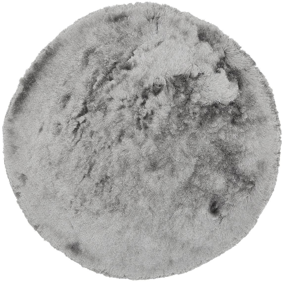 Tappeto lucido rotondo a pelo lungo Jimmy, Retro: 100% cotone, Grigio chiaro, Ø 150 cm (taglia M)