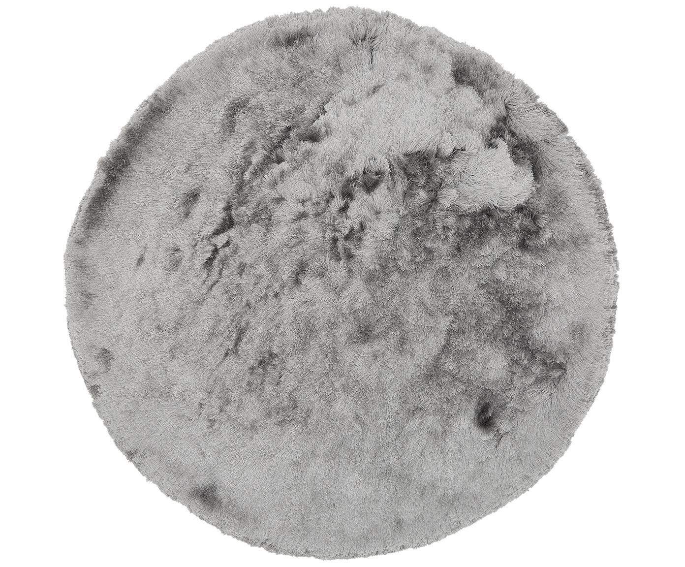 Glänzender Hochflor-Teppich Jimmy in Hellgrau, rund, Flor: 100% Polyester, Hellgrau, Ø 150 cm (Grösse M)
