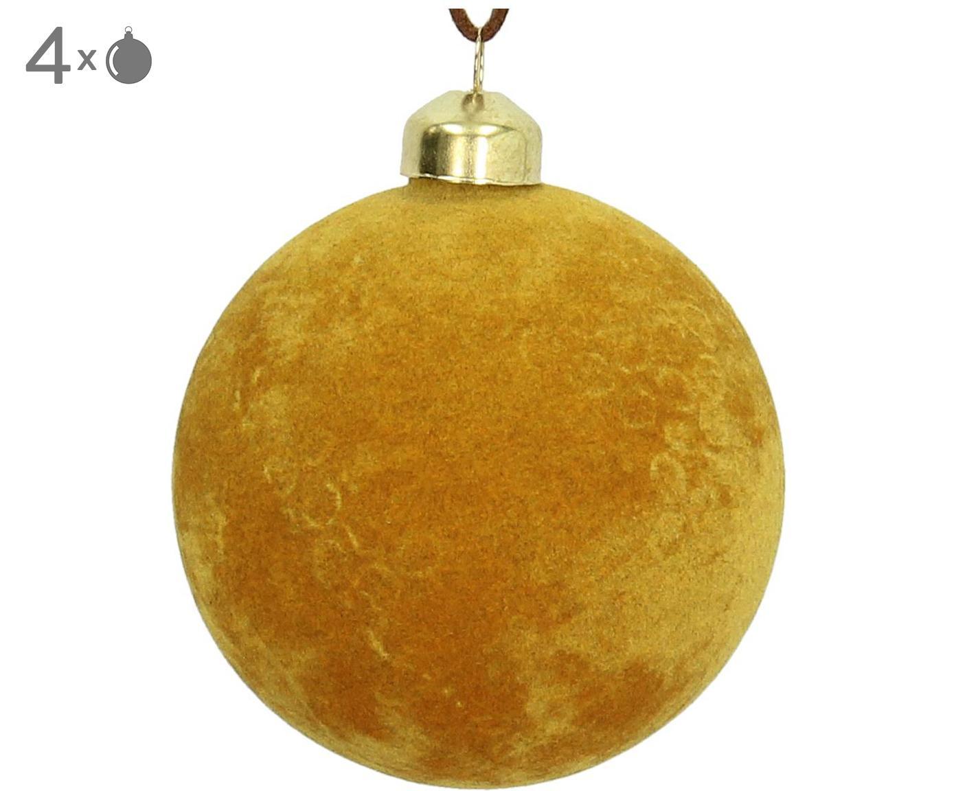 Fluwelen kerstballen Elvien, 4 stuks, Geel, Ø 8 cm