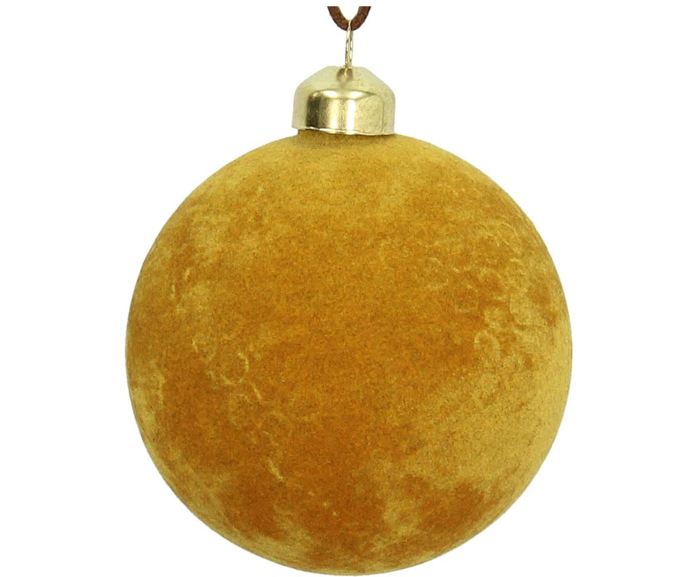 Samt-Weihnachtskugeln Elvien, 4 Stück, Gelb, Ø 8 cm