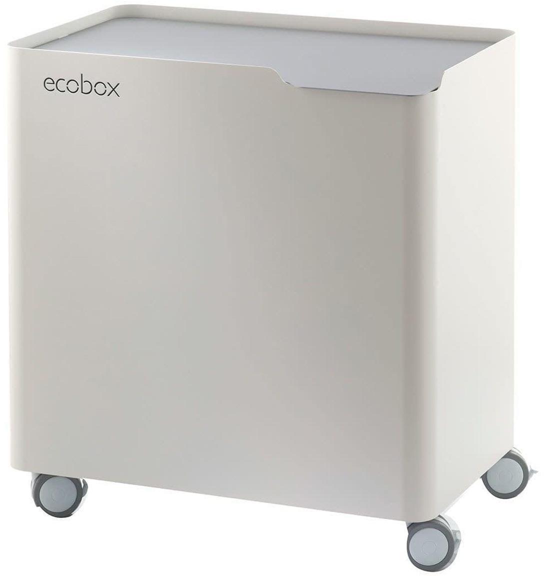 Cubo de basura para reciclar Ecobox, Acero lacado, Blanco, gris, An 59 x Al 56 cm