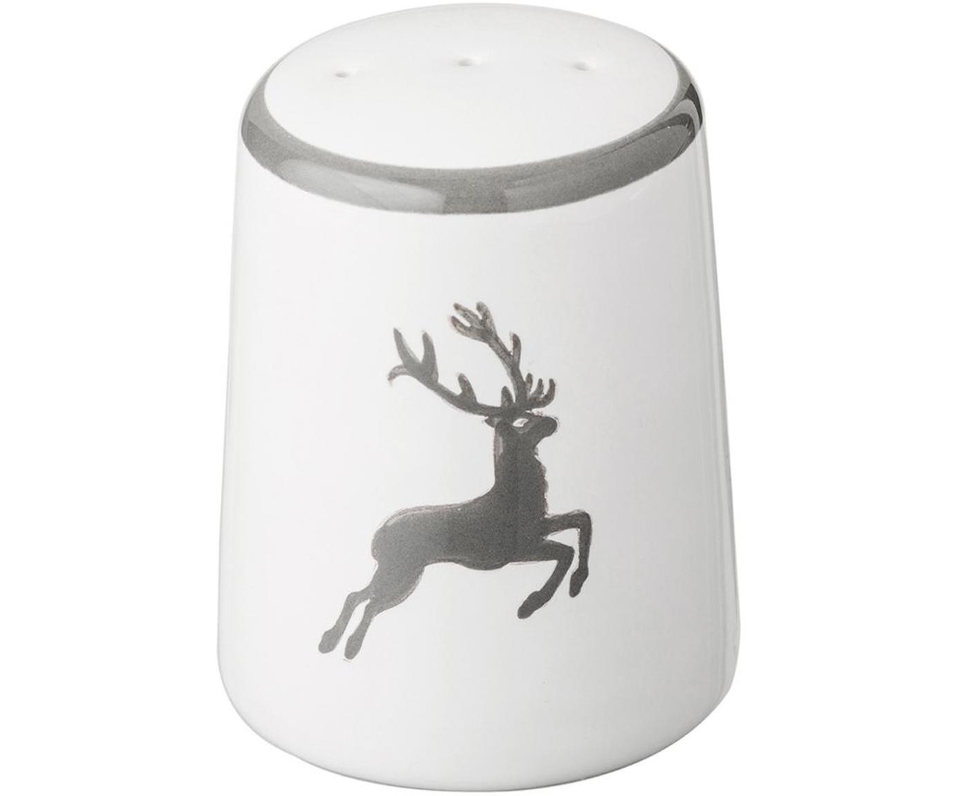 Pepiera dipinta a mano con cervo Classic, Ceramica, Grigio, bianco, 4 x 6 cm