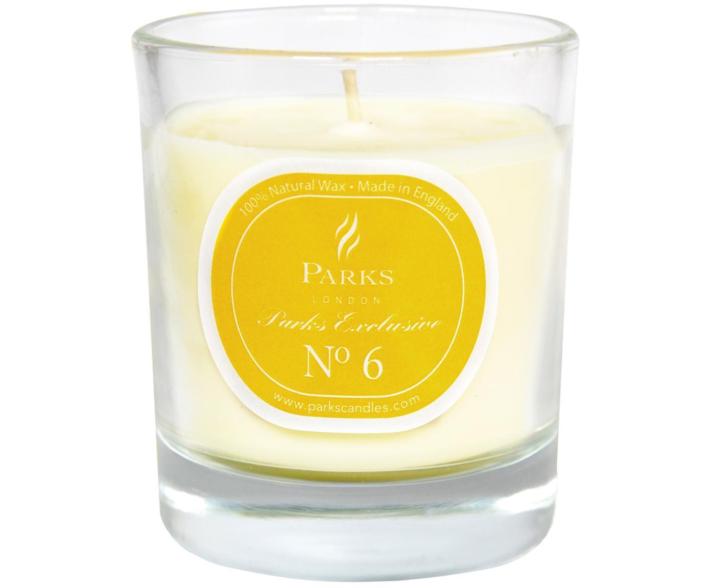 Geurkaars Exclusive No 6 (limoen & citroen), Houder: melkglas, Oranje, wit, Ø 8 x H 9 cm