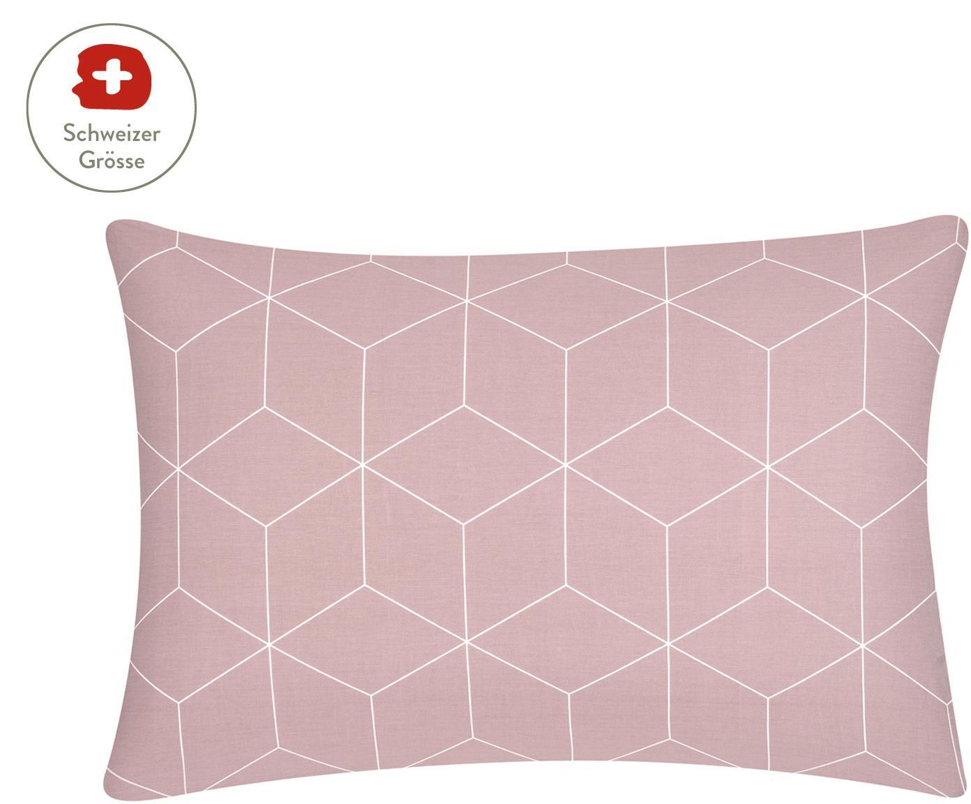 Baumwoll-Kissenbezug Lynn mit grafischem Muster, Webart: Renforcé Fadendichte 144 , Altrosa, Cremeweiss, 65 x 100 cm