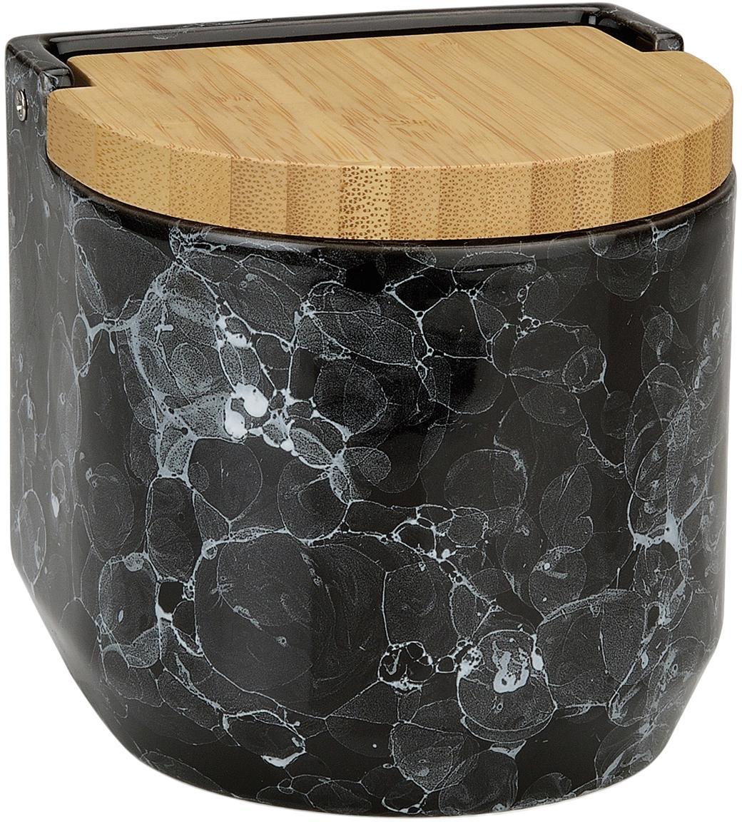 Aufbewahrungsdose Bubble in Marmor-Optik mit Bambusdeckel, Keramik, Bambus, Schwarz, marmoriert, Ø 12 x H 12 cm