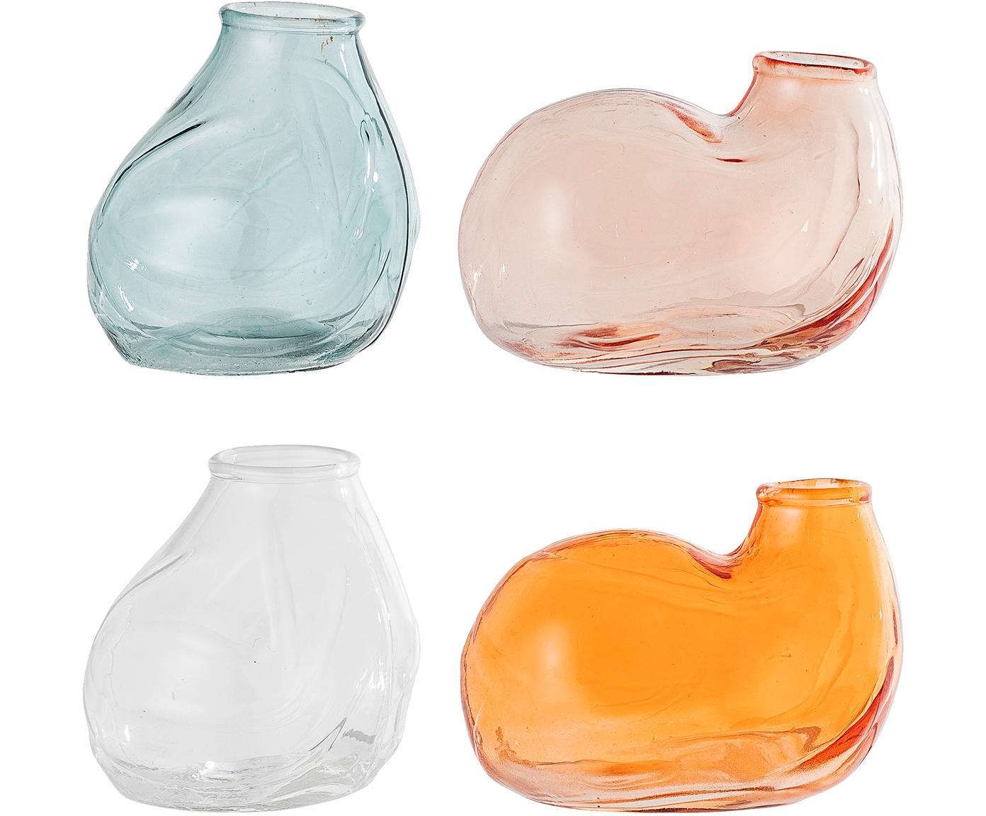 Komplet wazonów XS ze szkła Klara, 4 elem., Szkło, Niebieski, blady różowy, transparentny, pomarańczowy, S 6 x W 4 cm