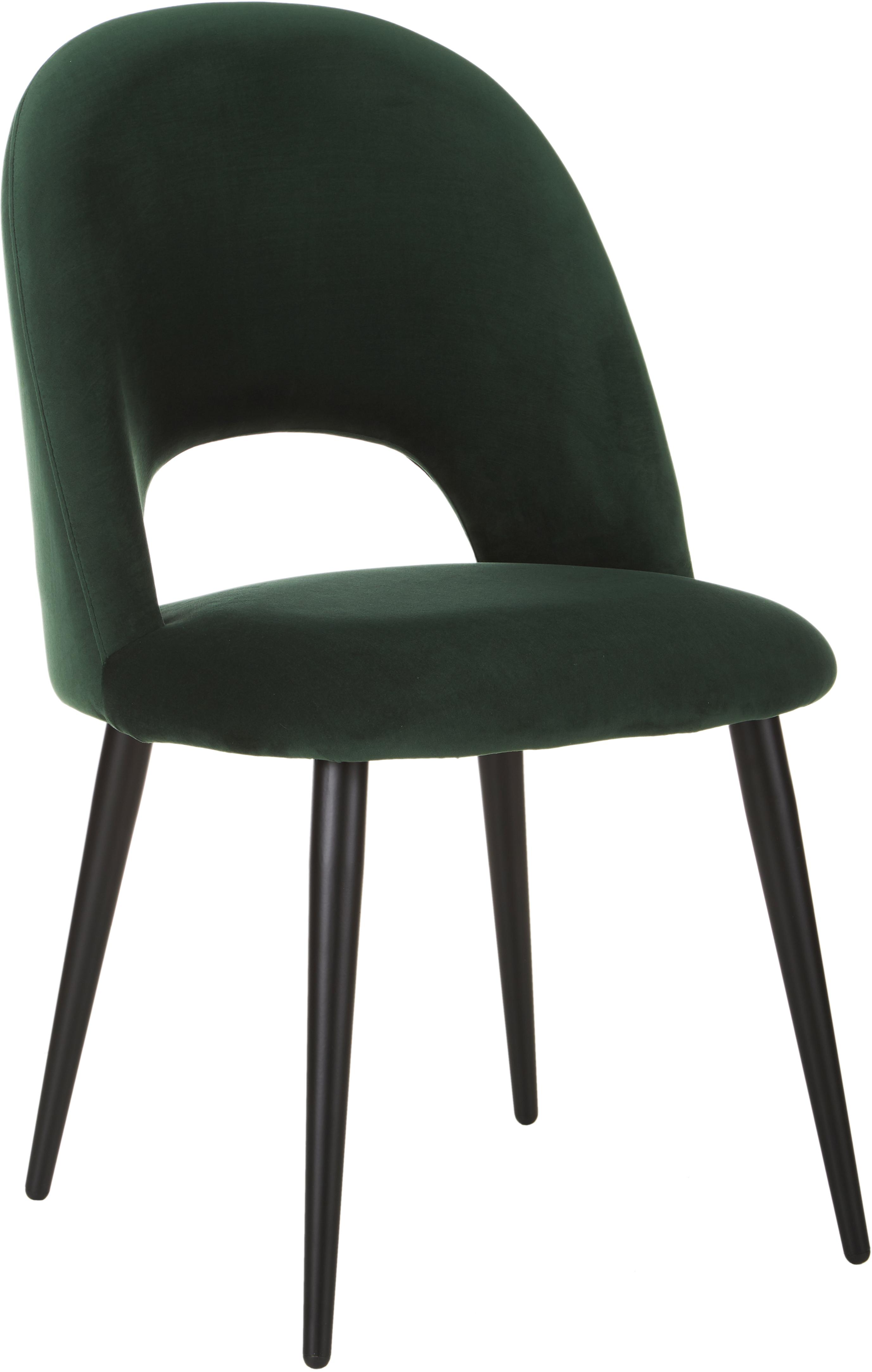 Sedia imbottita in velluto Rachel, Rivestimento: velluto (rivestimento in , Gambe: metallo verniciato a polv, Verde scuro, Larg. 53 x Prof. 57 cm