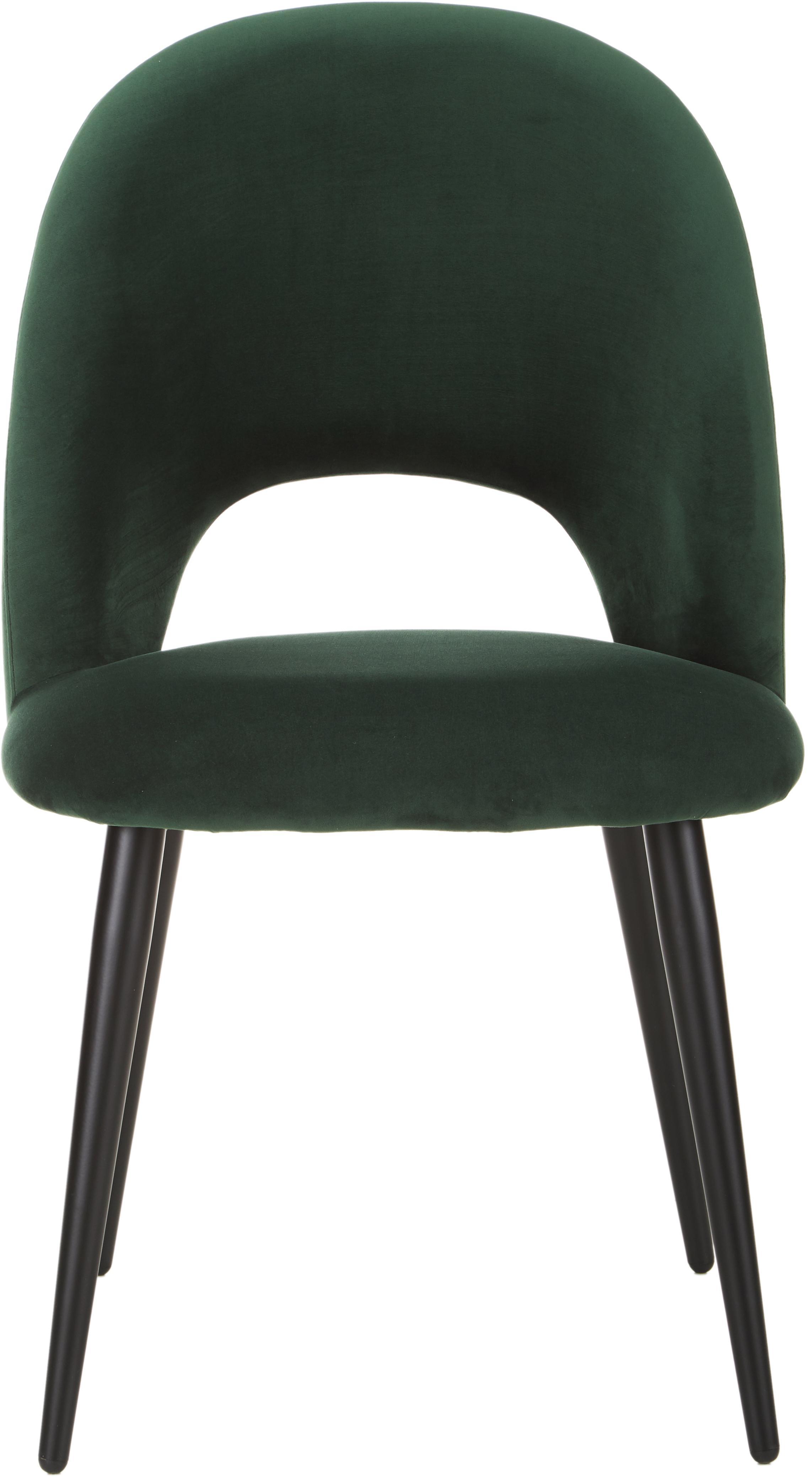 Silla de terciopelo Rachel, Tapizado: terciopelo (tapizado de p, Patas: metal con pintura en polv, Verde oscuro, An 53 x F 57 cm
