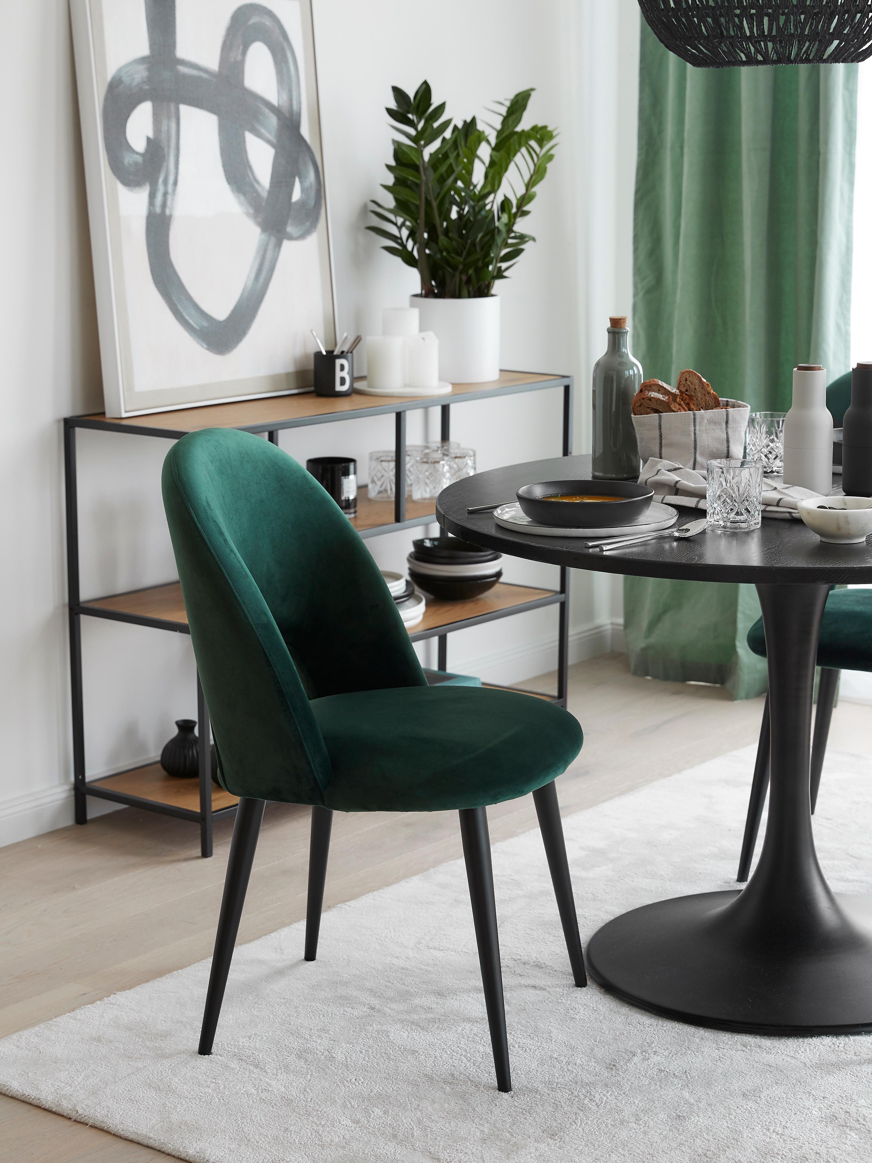 Fluwelen stoel Rachel, Bekleding: fluweel (hoogwaardige pol, Poten: gepoedercoat metaal, Donkergroen, B 53 x D 57 cm