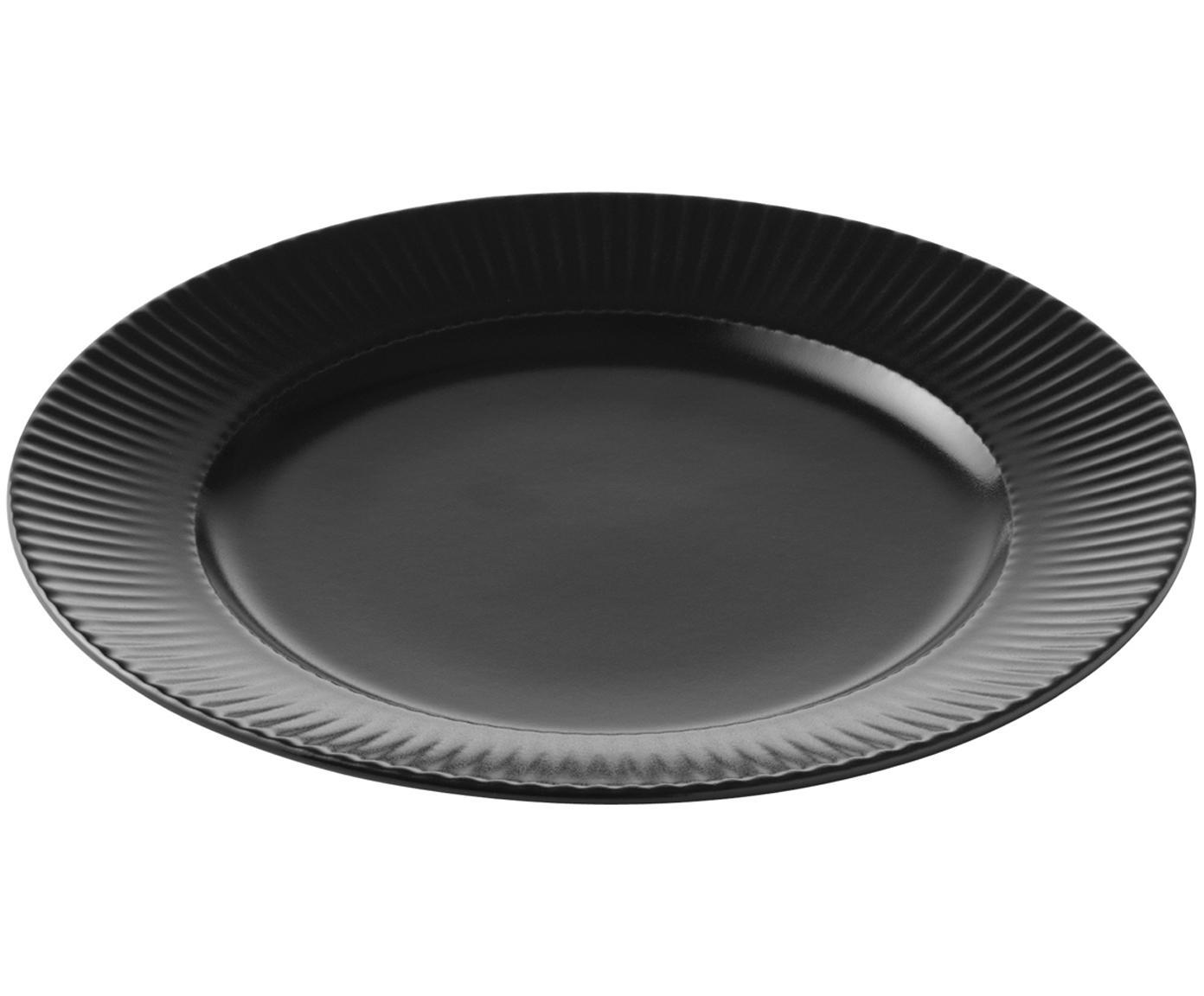 Piatto da colazione con struttura rigata Groove 4 pz, Terracotta, Nero, Ø 21 x Alt. 1 cm