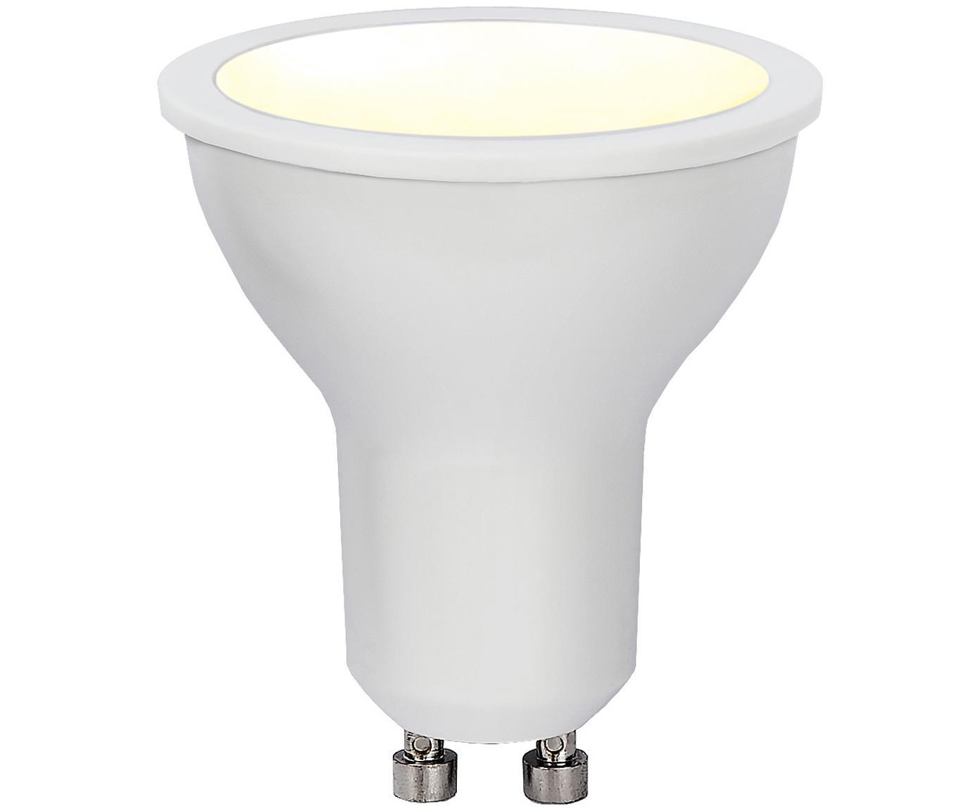 Dimbaar LED lamp Dim To Warm (GU10/6W), Peertje: kunststof, Fitting: aluminium, Wit, Ø 5 x H 6 cm