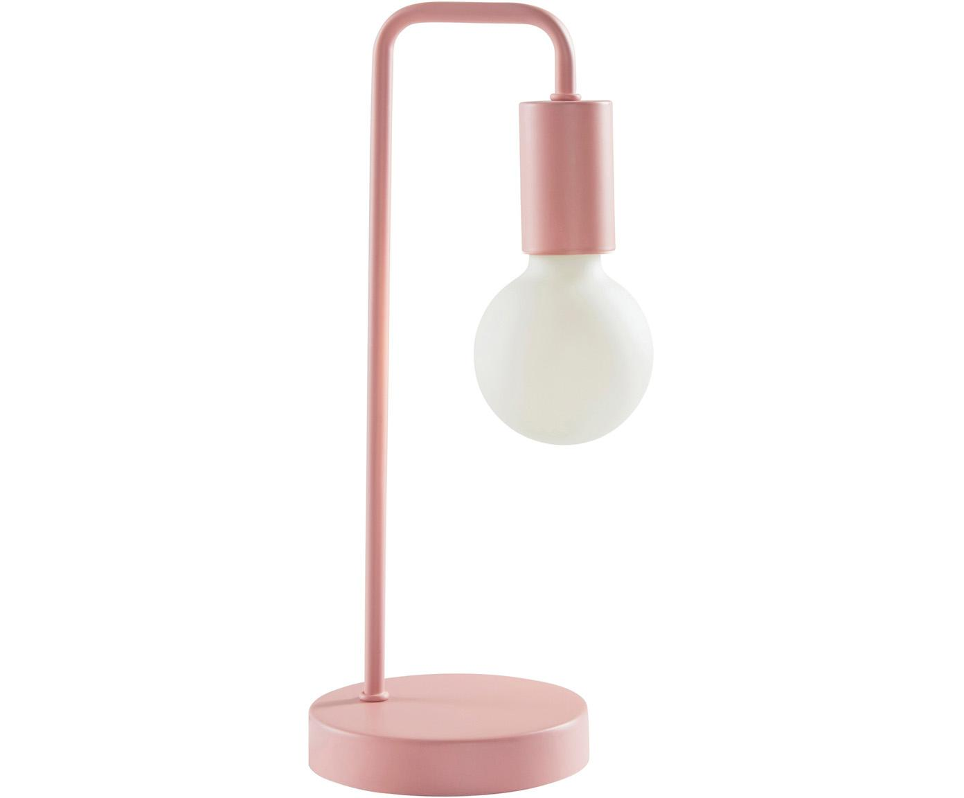 Lámpara de mesa Cascais, Pantalla: metal recubierto, Cable: cubierto en tela, Rosa, Ø 14 x Al 35