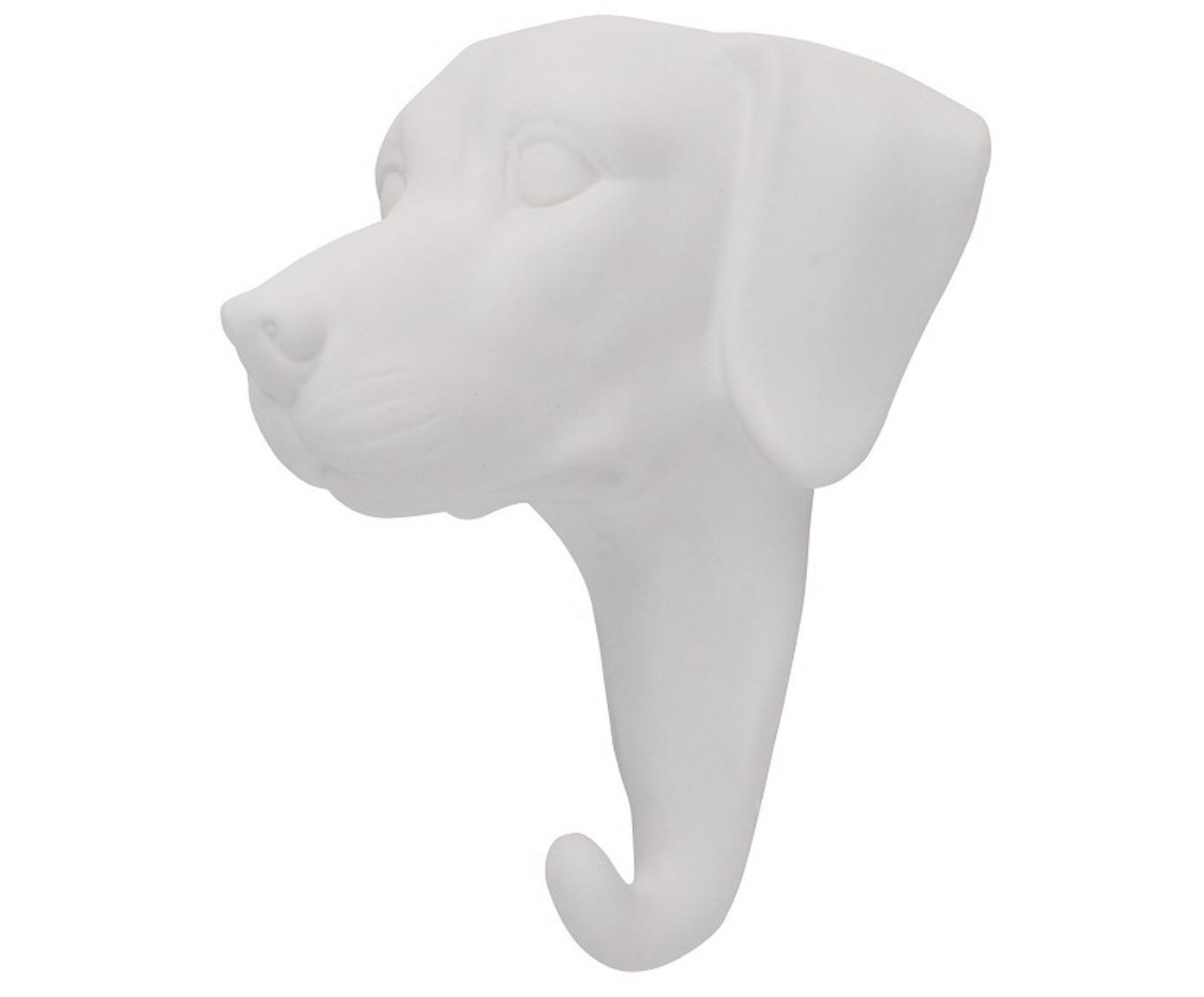 Wandhaken Dog aus Porzellan, Porzellan, Weiss, H 13 cm