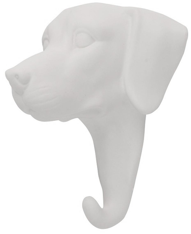 Gancio appendiabiti da parete in porcellana Dog, Porcellana, Bianco, Alt. 13 cm