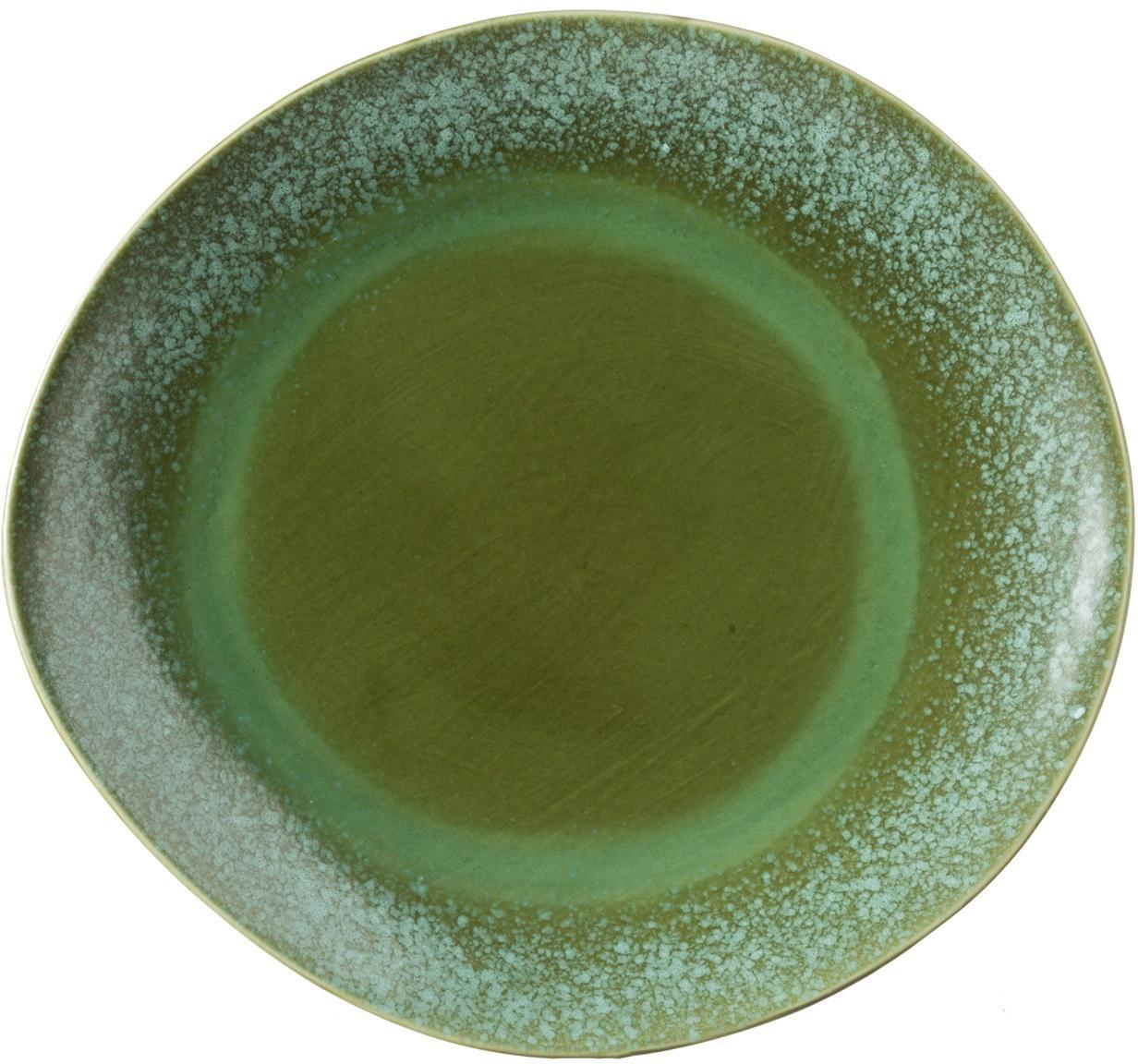 Sottopiatto fatto a mano 70's, 2 pz, Ceramica, Tonalità verde, Ø 29 cm