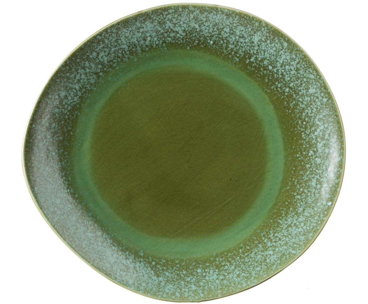 Handgemachte Platzteller 70's, 2 Stück, Keramik, Grüntöne, Ø 29 cm