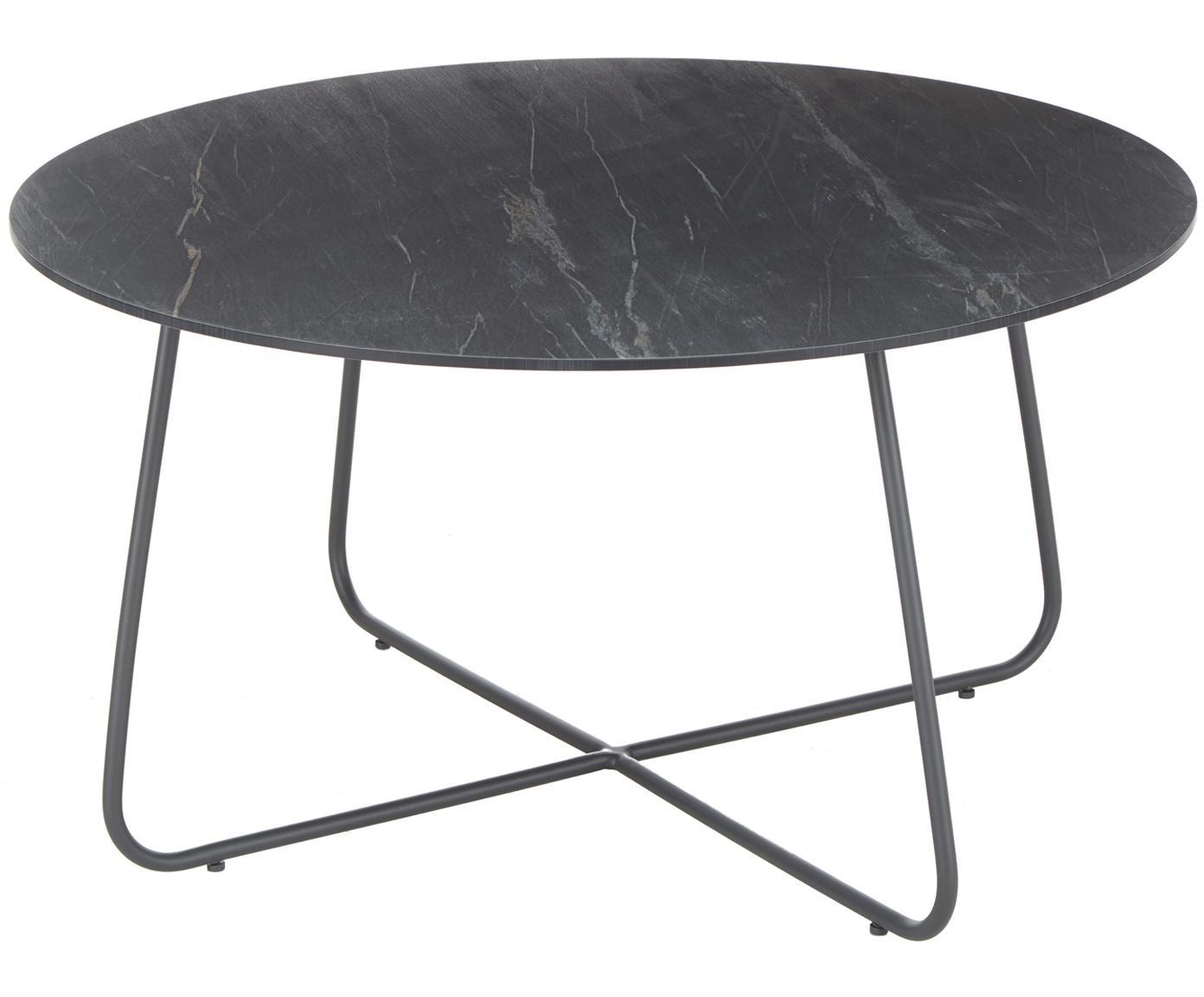 Mesa auxiliar de jardín Taverny, Tablero: laminado de Alta Presión , Estructura: aluminio con pintura en p, Gris oscuro, Ø 65 x Al 43 cm