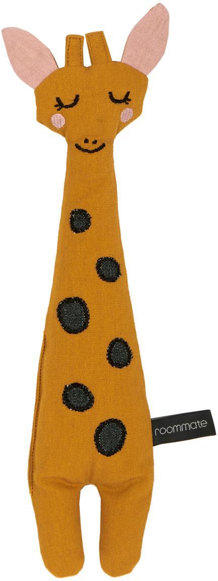 Knuffeldier Giraffe van bio-katoen, Geel, zwart, roze, 8 x 30 cm