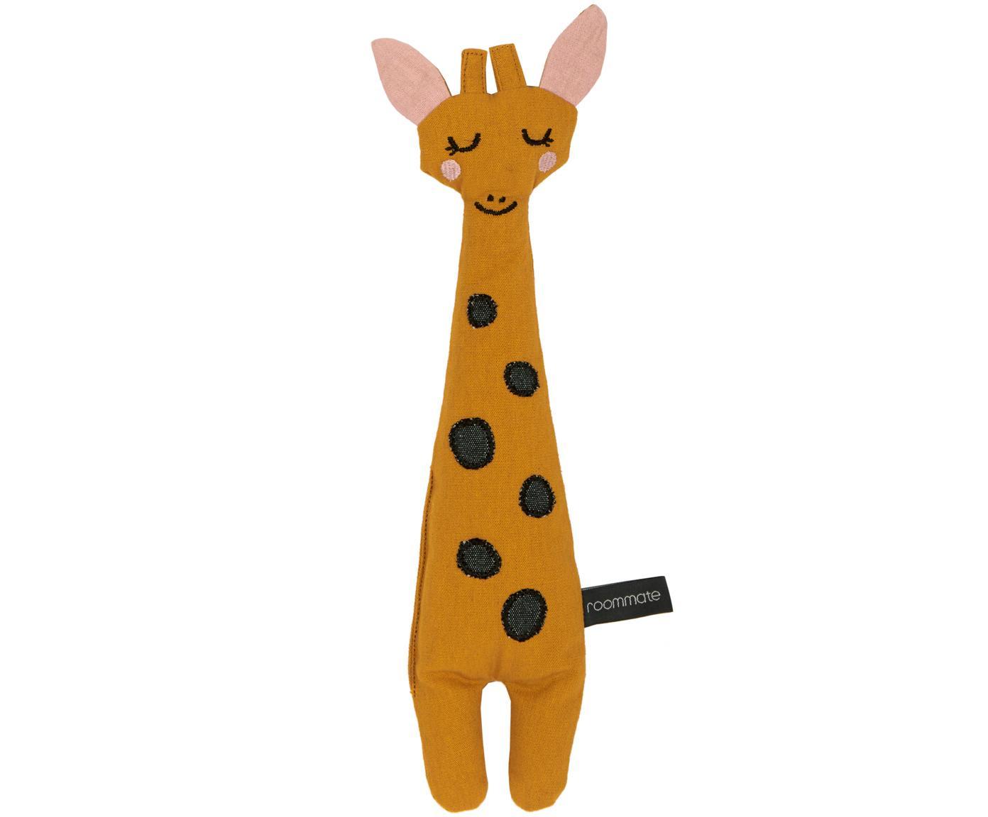 Peluche giraffa in cotone organico Giraffe, Giallo, nero, rosa, Larg. 8 x Alt. 30 cm