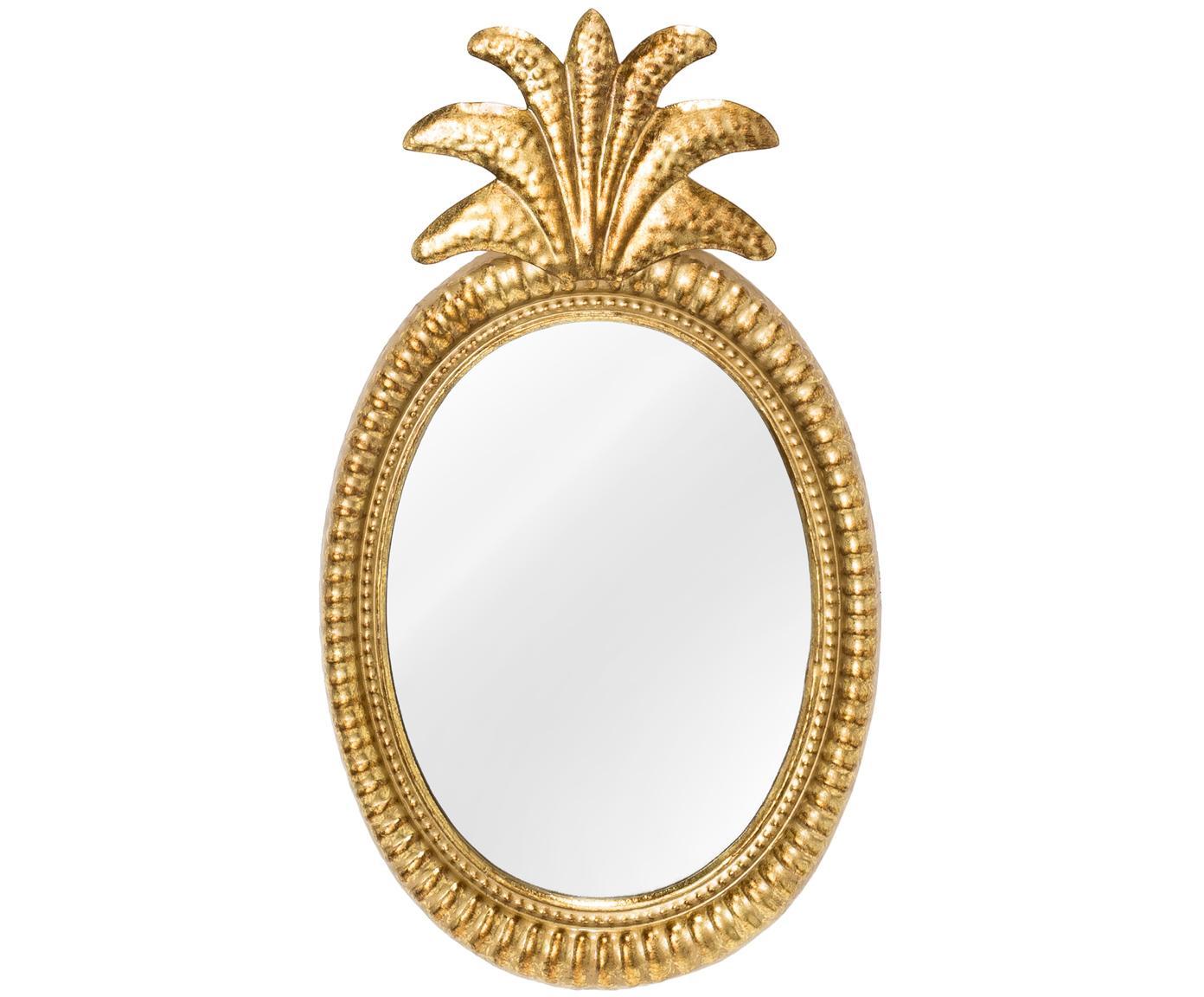 Wandspiegel Ana mit Messingrahmen, Rahmen: Metall, beschichtet, Spiegelfläche: Spiegelglas, Goldfarben, 27 x 49 cm