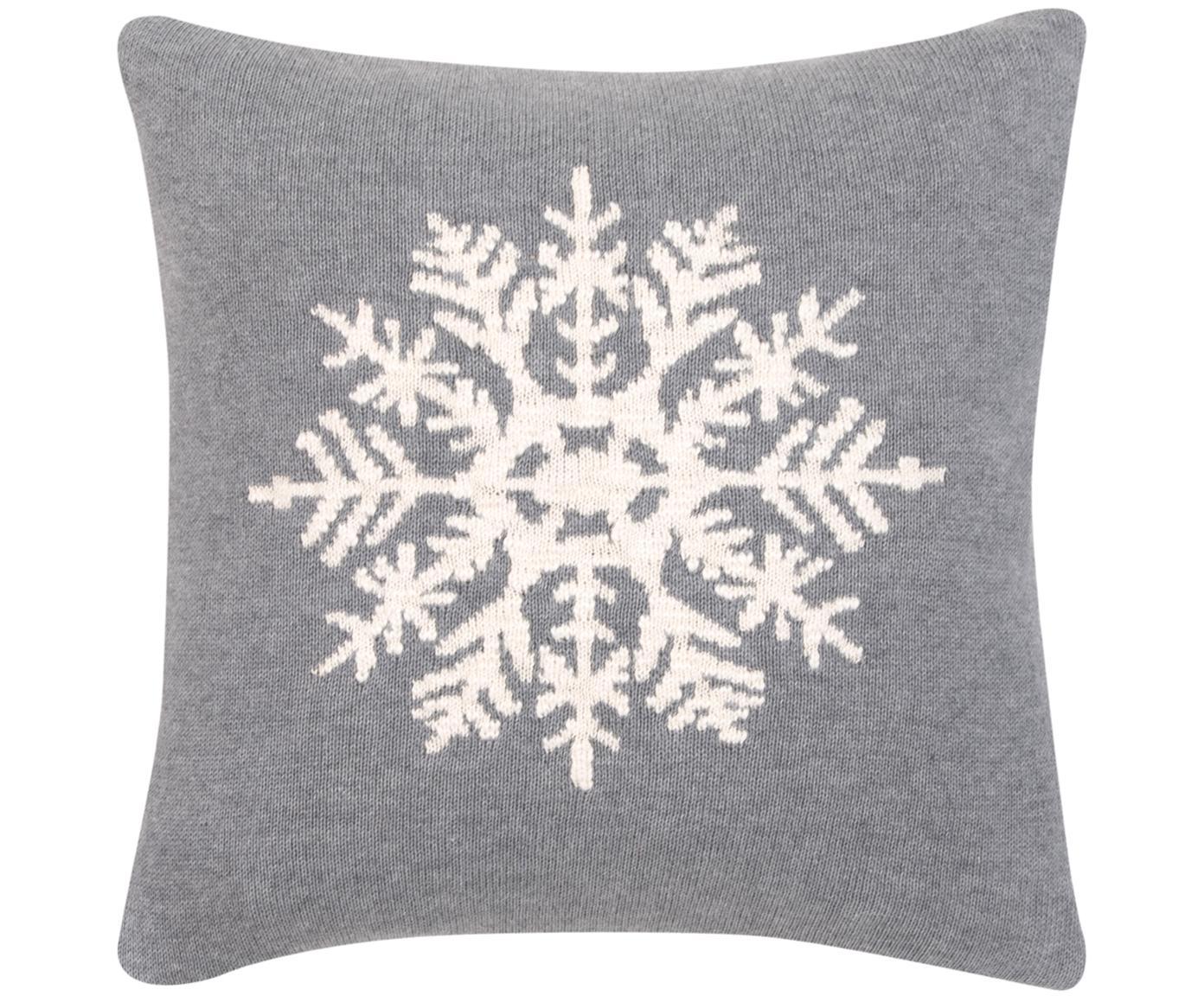 Kissenhülle Snowflake mit Schneeflockenmotiv, Baumwolle, Grau, Cremeweiß, 40 x 40 cm
