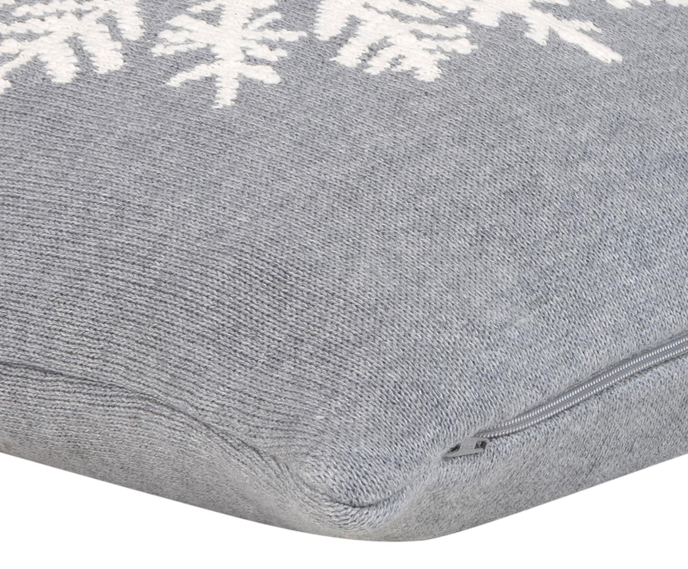 Funda de cojín Snowflake, 100%algodón, Gris, blanco crema, An 40 x L 40 cm