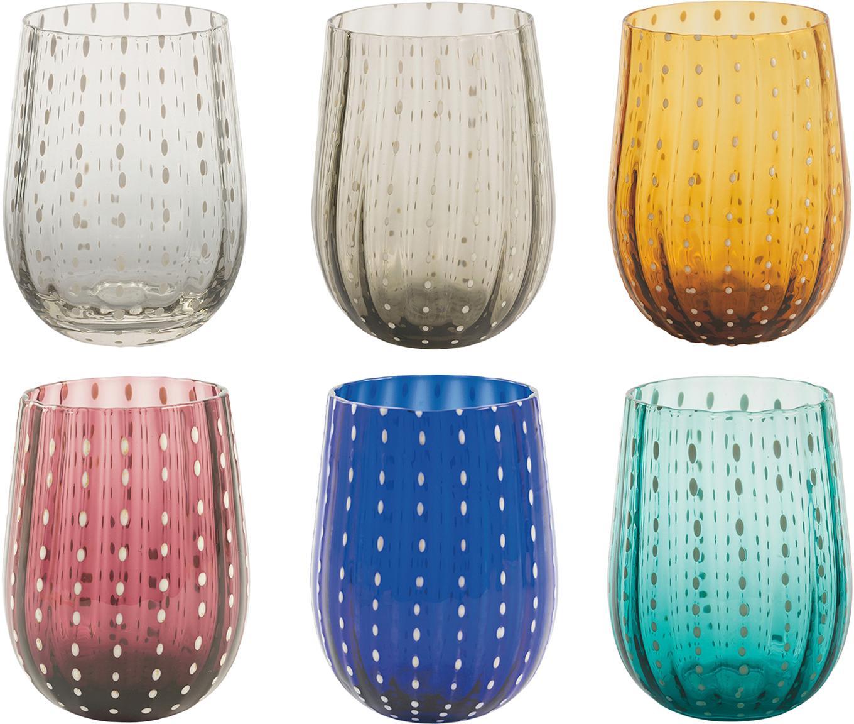 Set 6 bicchieri acqua Shiraz, Vetro, Multicolore, Ø 7 x Alt. 11 cm