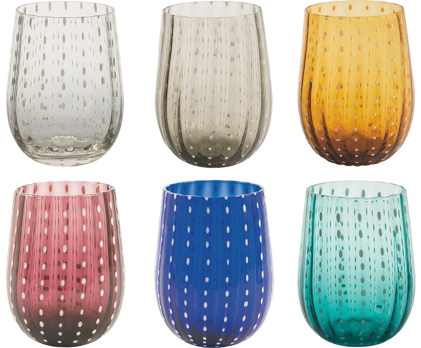 Vasos de colores Shiraz, 6uds., Vidrio, Multicolor, Ø 7 x Al 11 cm