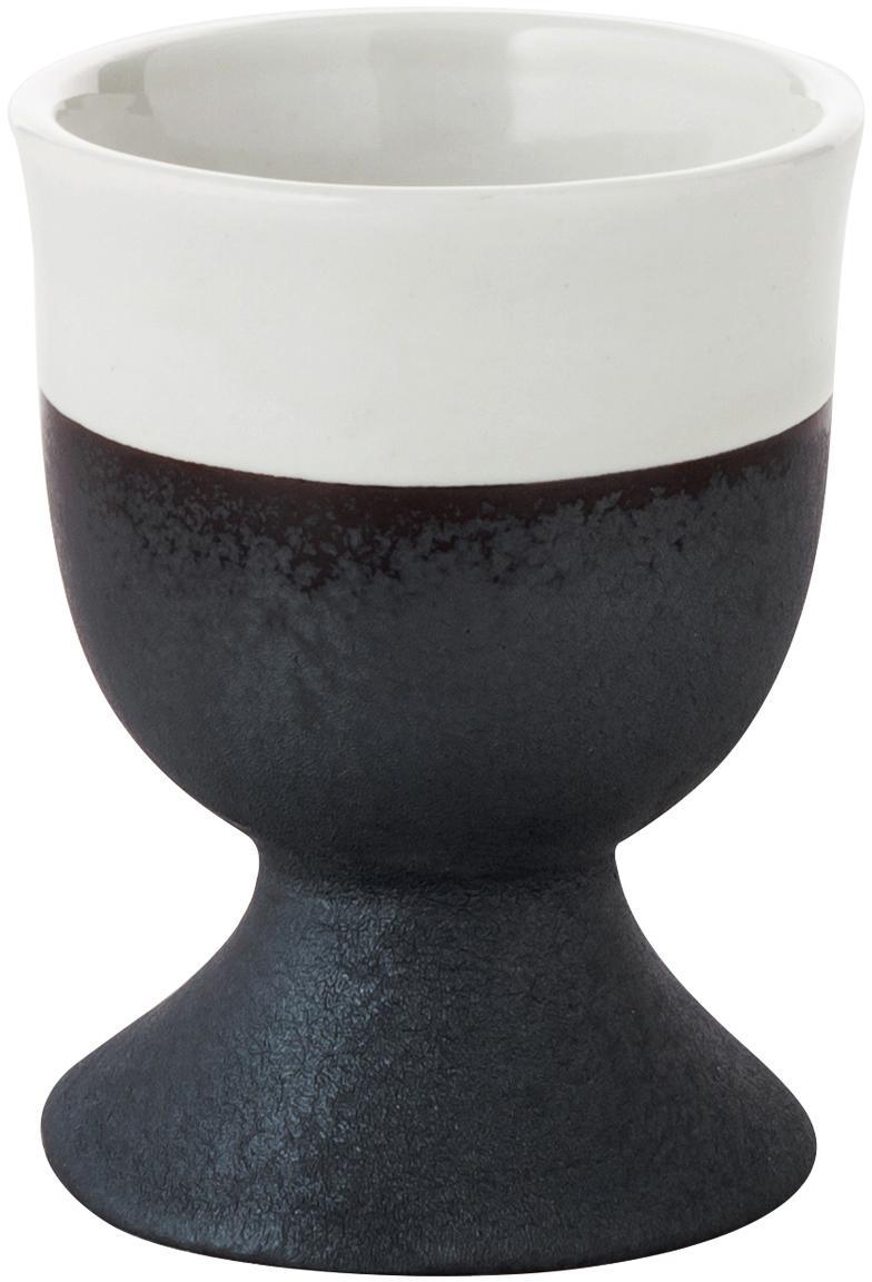 Handgemachte Eierbecher Esrum matt/glänzend, 4 Stück, Unten: Steingut, naturbelassen, Elfenbeinfarben, Graubraun, Ø 5 x H 6 cm