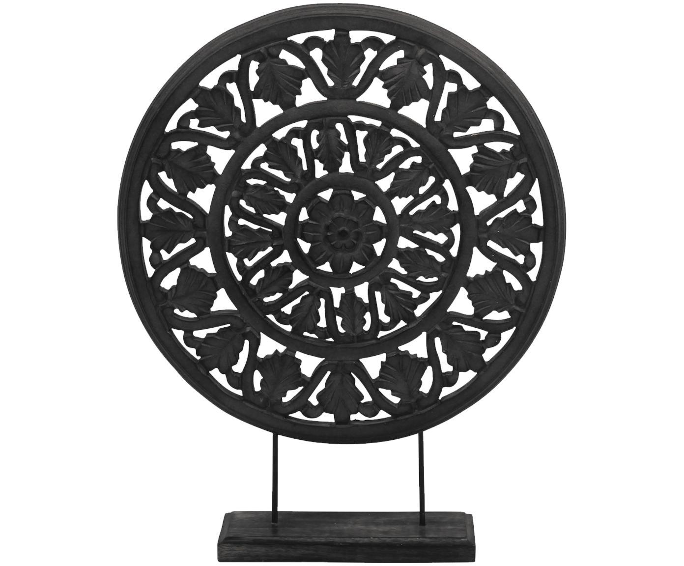 Decoratief object Brahma, Gelakt hout, Zwart, 40 x 50 cm