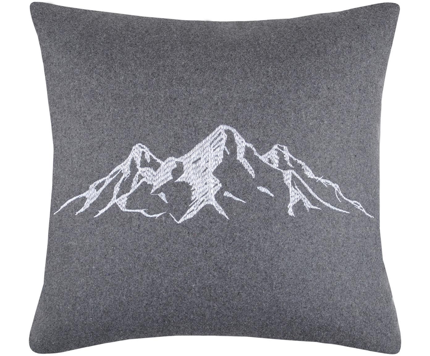 Kissen Charvin mit Bergmotiv, mit Inlett, Bezug: 95% Polyester, 5% Wolle, Grau, 45 x 45 cm